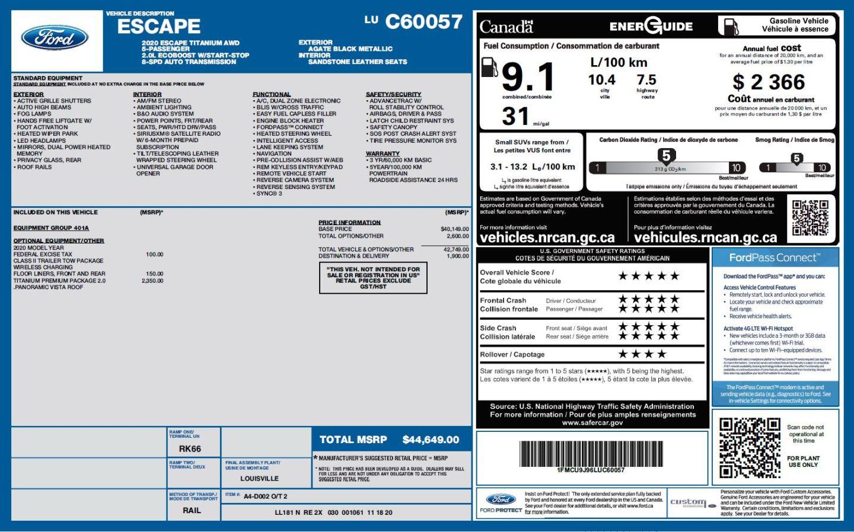2020 Ford Escape Titanium for sale in Peace River, Alberta