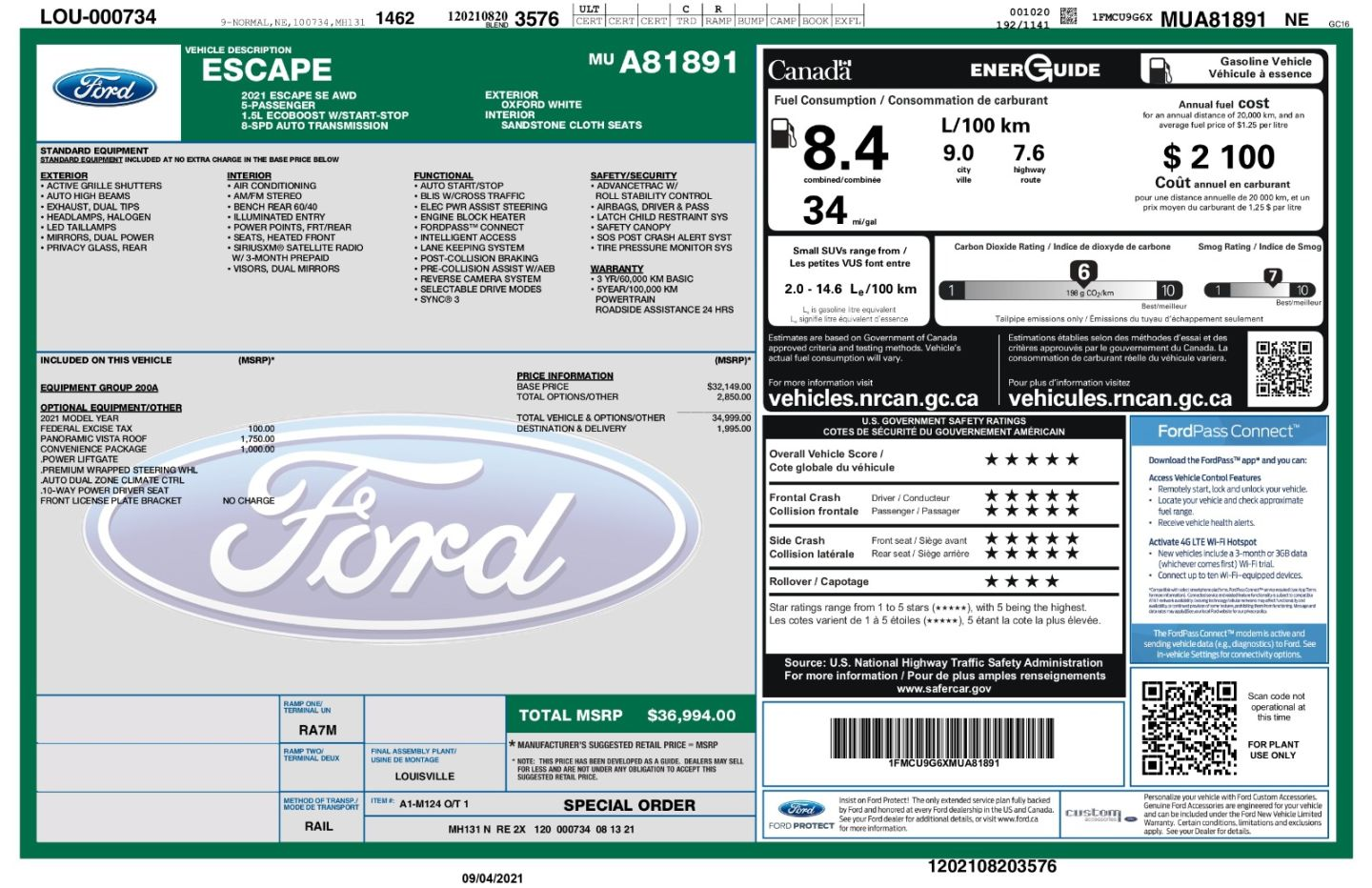 2021 Ford Escape SE for sale in Mississauga, Ontario