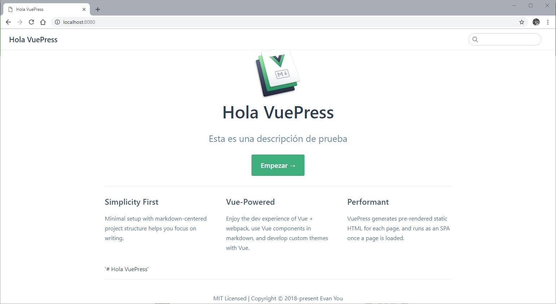 Tema Predeterminado de VuePress