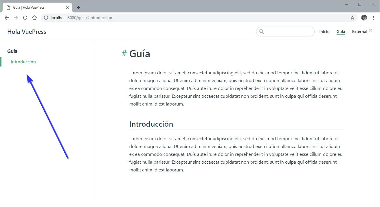 Crear un Sidebar para VuePress