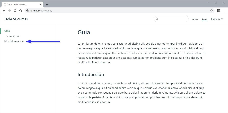 Agregando una serie de enlaces al sidebar VuePress