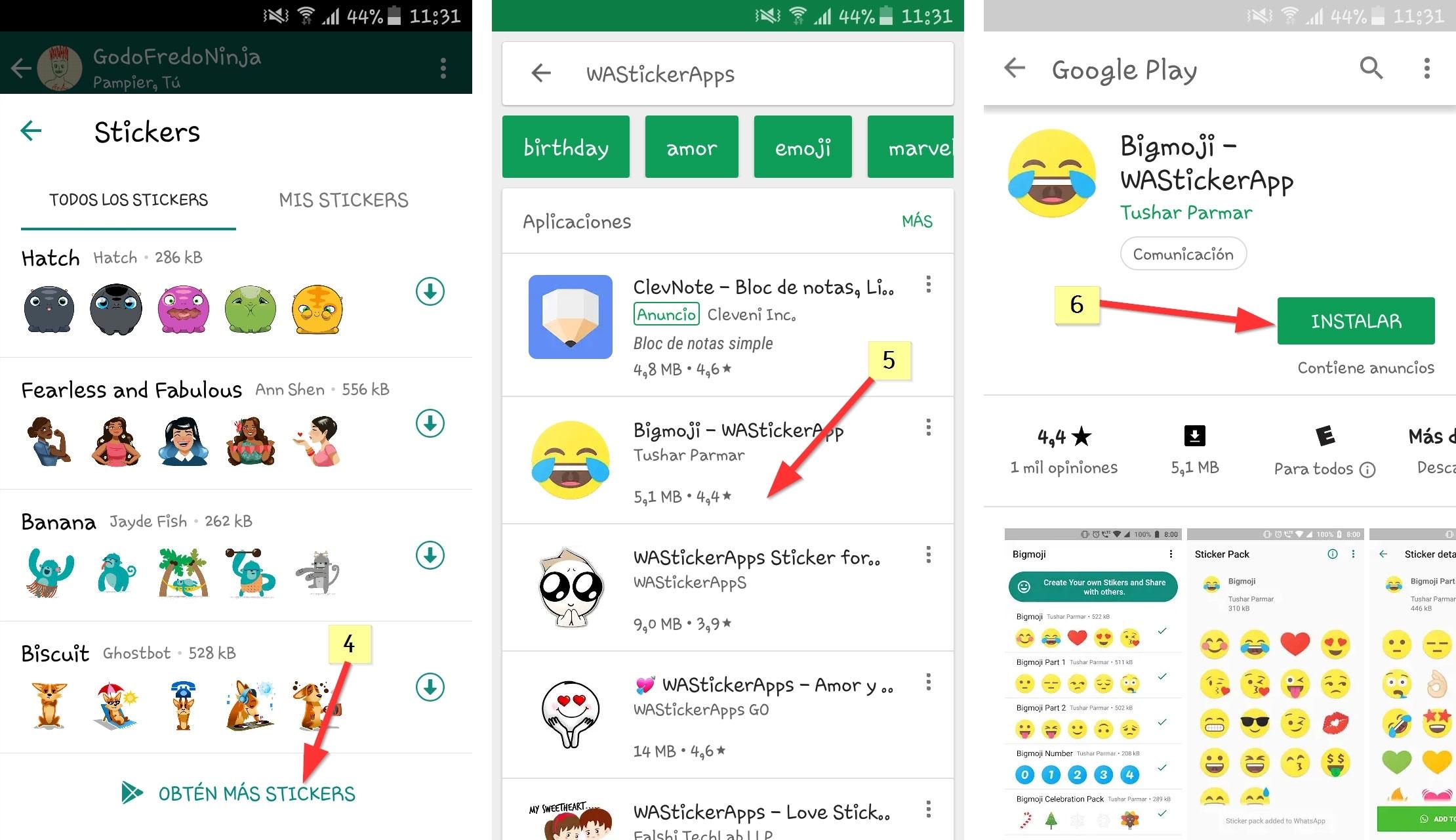 Pasos para tener los stickers de whatsapp