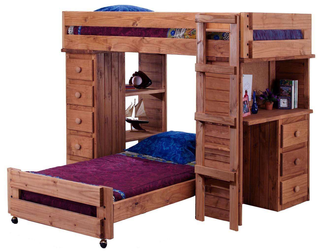 Chelsea Home Mahogany Stain Twin Over Twin Student Loft Bed