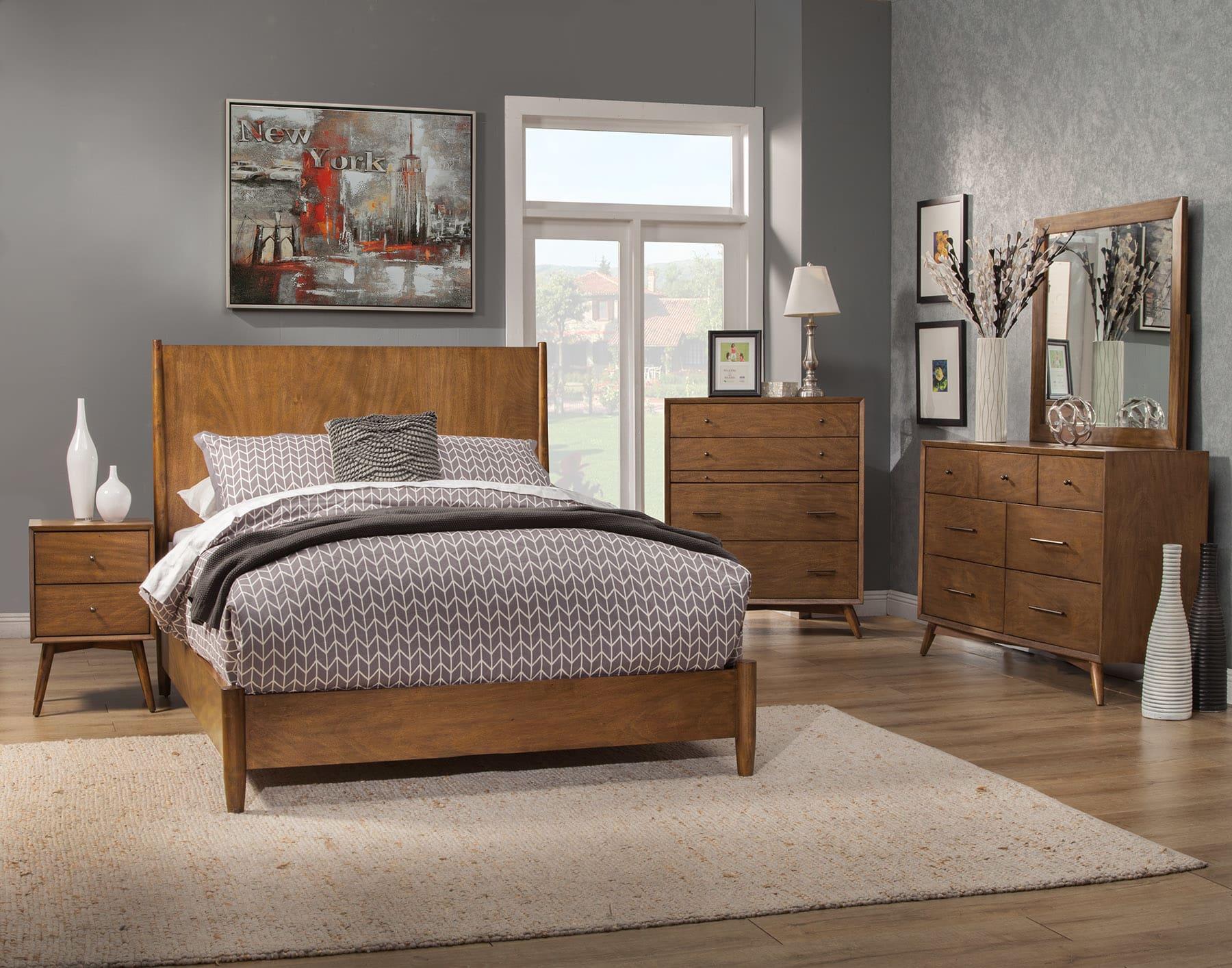 Alpine Flynn Acorn Mid Century Modern Queen 5 Piece Bedroom Set