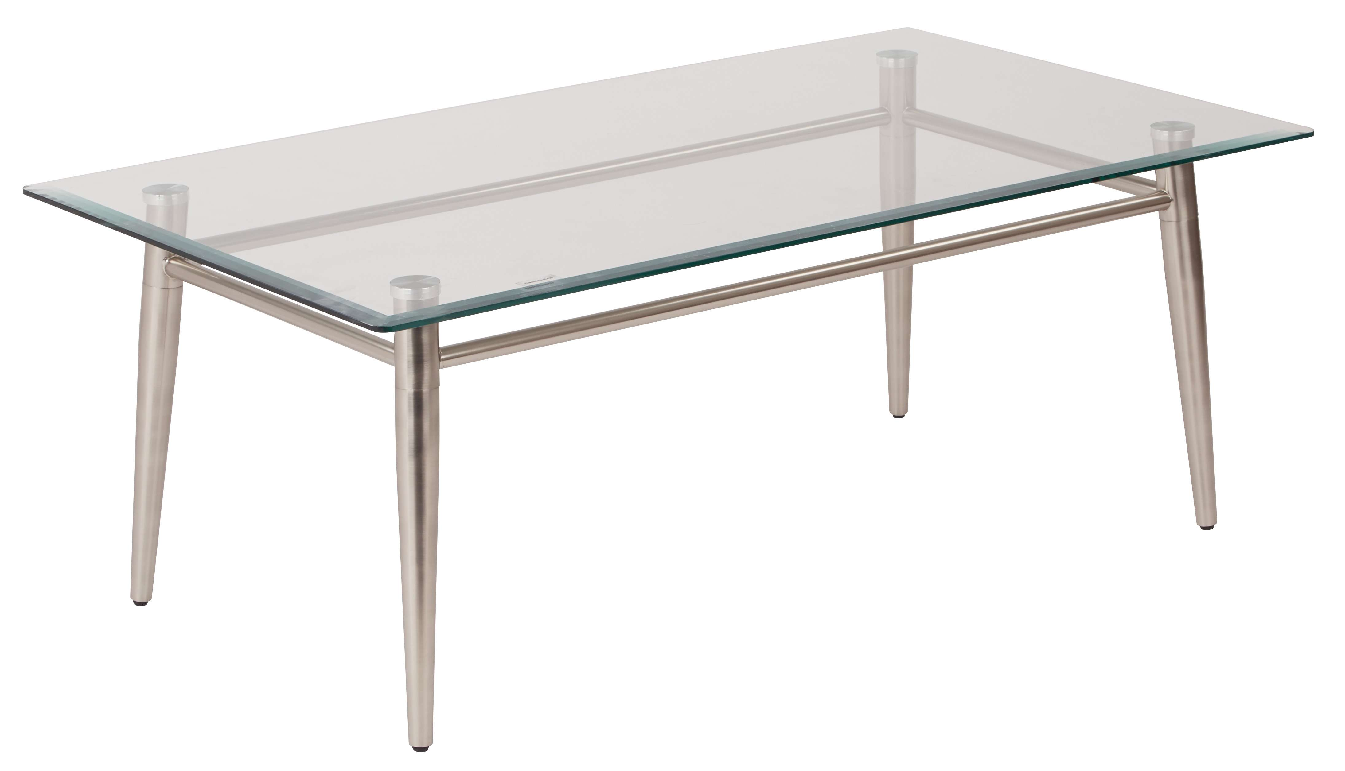 Office Star Brooklyn Clear Tempered Glass Top Coffee Table With