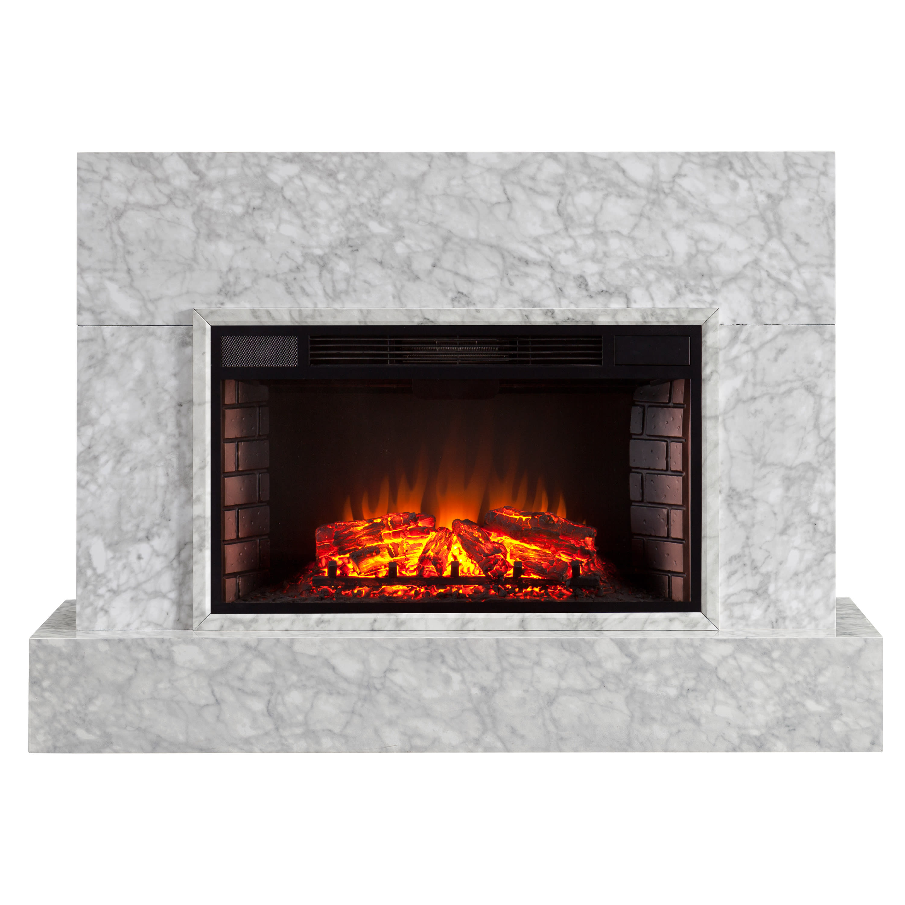 Southern Enterprises Torvelle White Faux Marble Electric Fireplace
