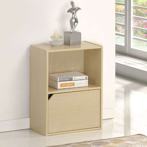 Steam Beech Furinno 11204SBE Pasir 2 Tier Bookcase with 1 Door with Out Handle