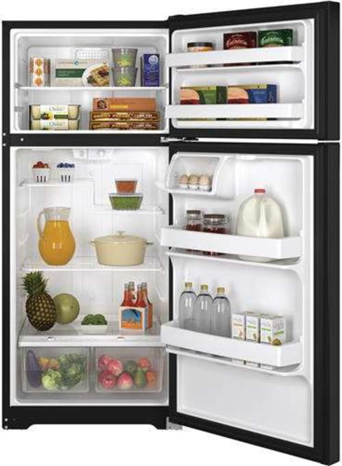 Black Top Freezer Refrigerator Ft GE GTS16DTHBB 15.5 Cu Energy Star Right Hinge