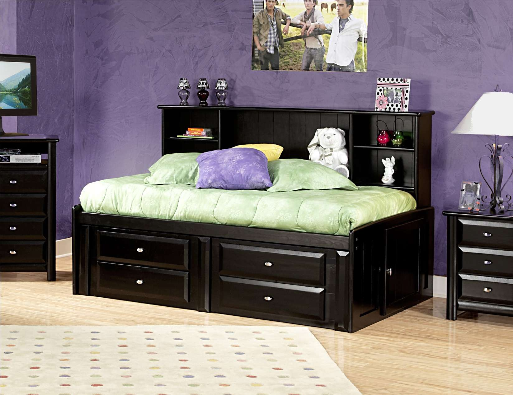 Chelsea Home Black Cherry Twin Storage Bed With Bookcase Headboard