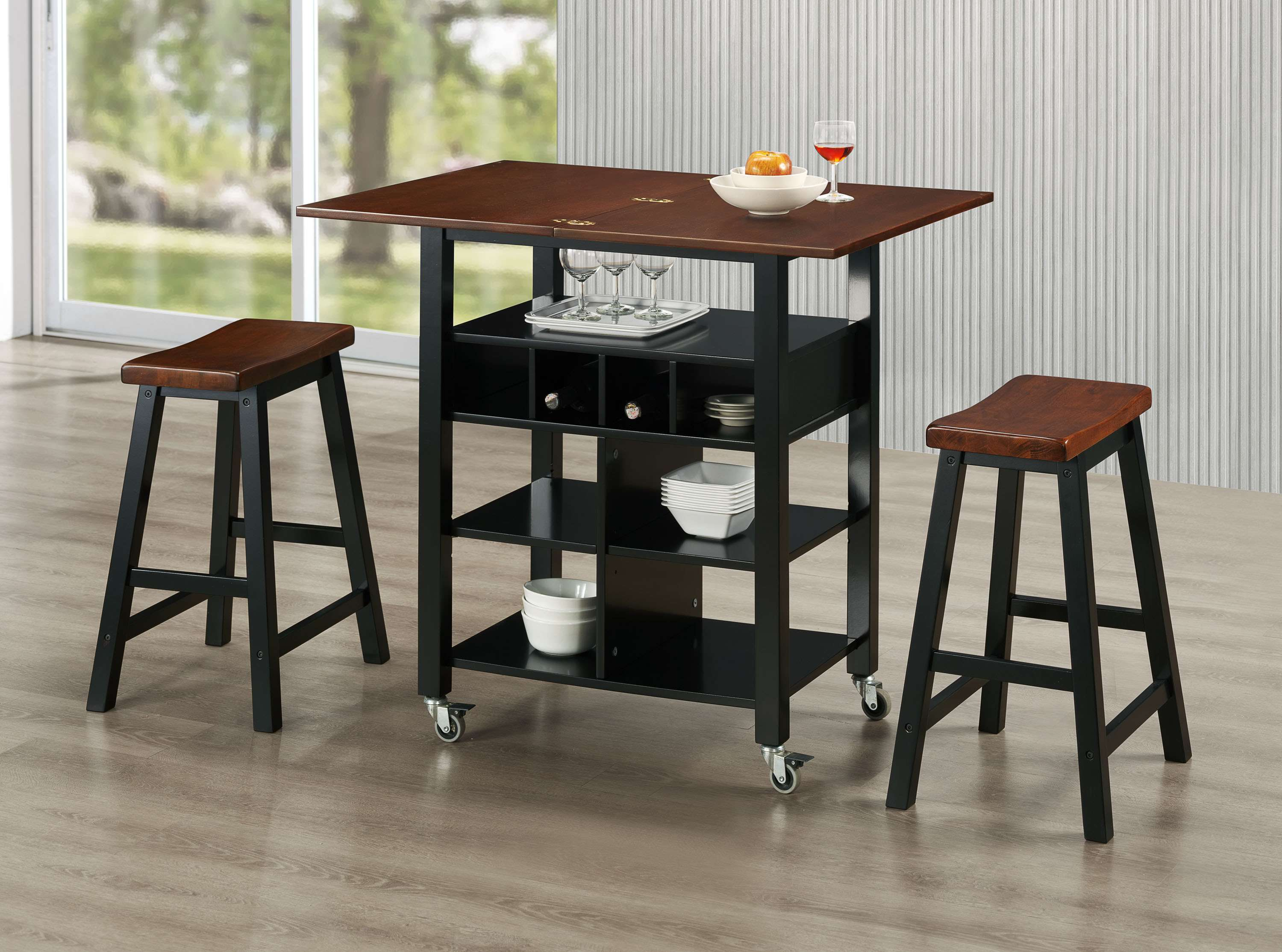 4d Concepts Phoenix Mahogany And Black Kitchen Island With 2