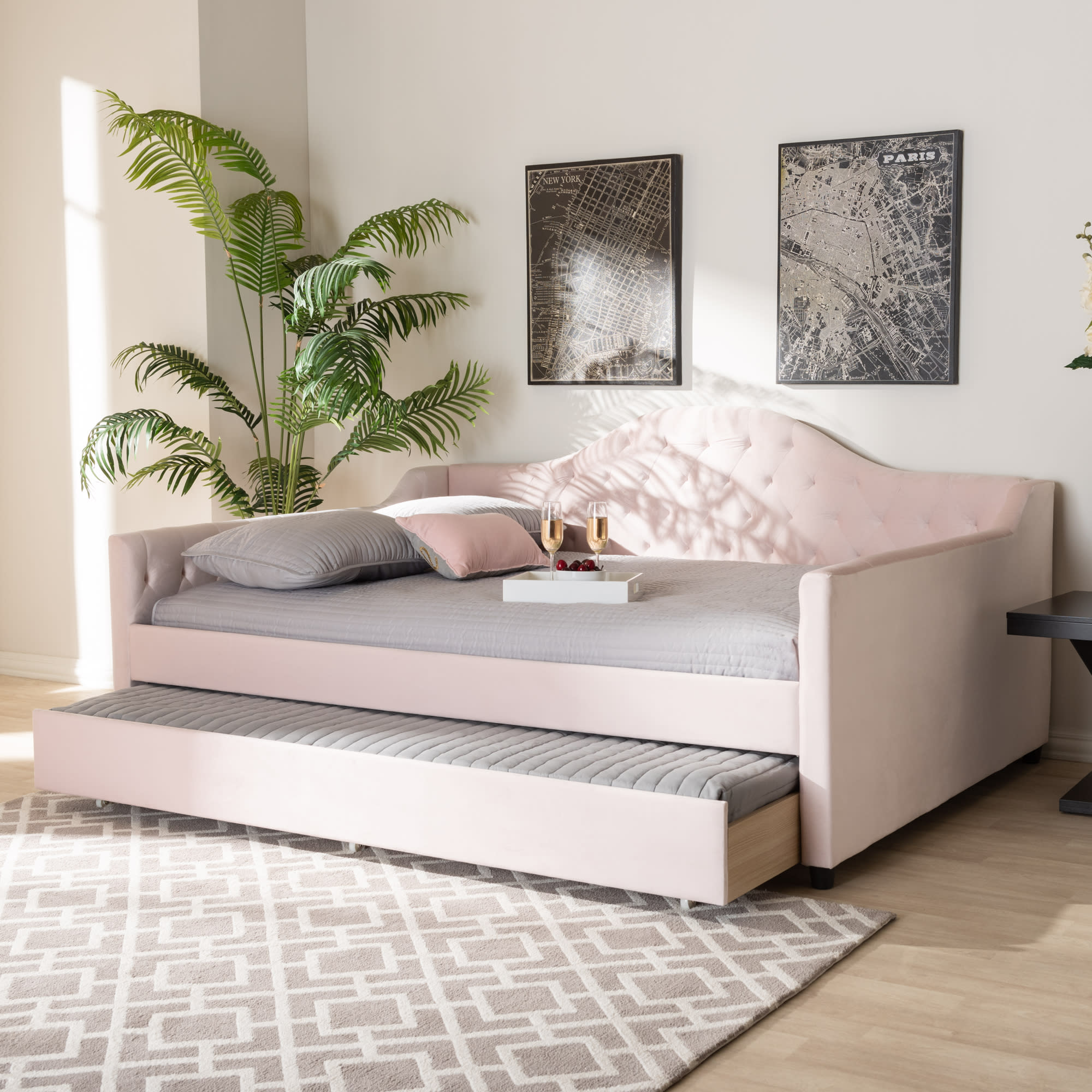 Baxton Studio Perry Light Pink Full Daybed With Trundle Reviews