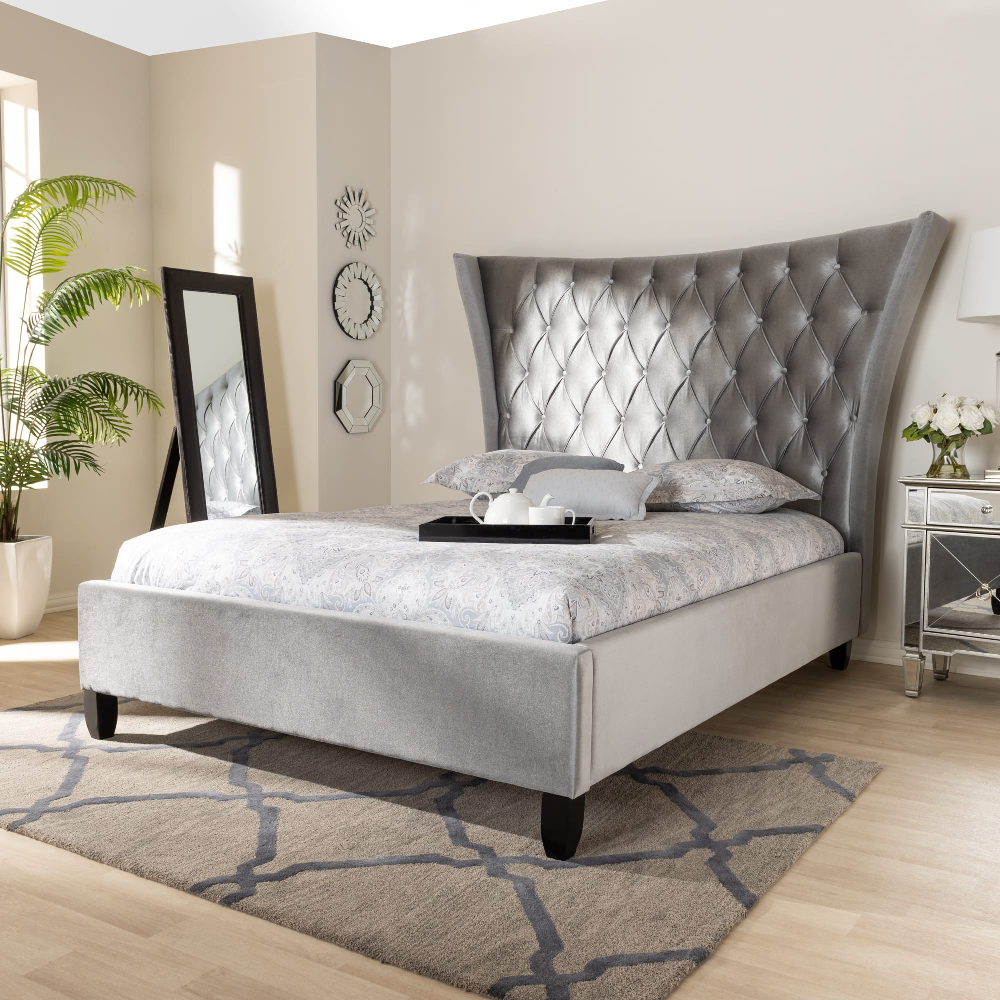 Baxton Studio Viola Grey Queen Platform Bed With Tall Wingback
