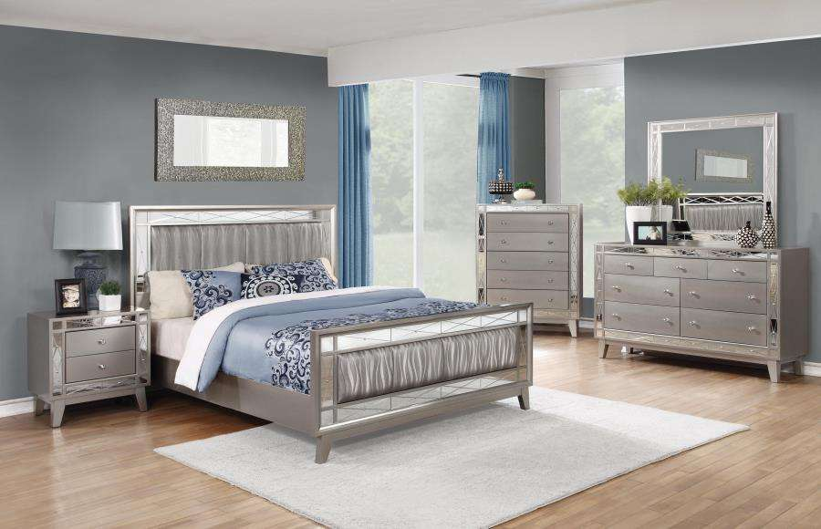 Coaster Leighton Metallic Mercury Queen 5 Piece Bedroom Set