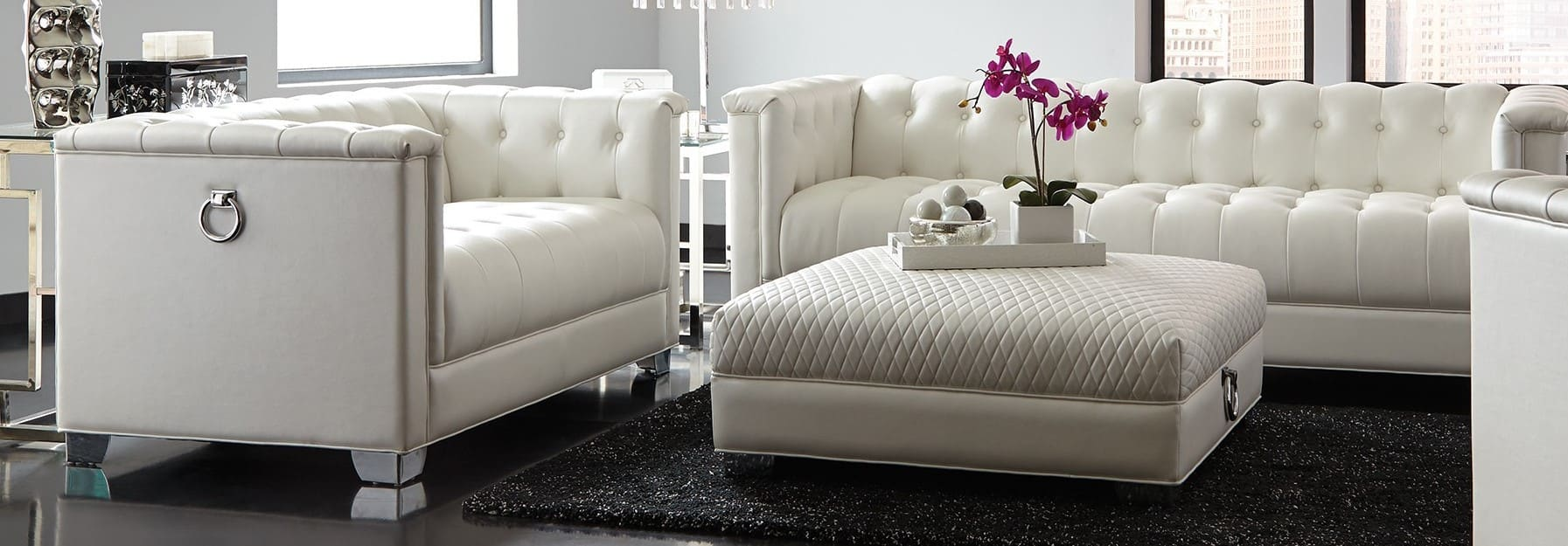 Chaviano Low Profile Pearl White Tufted Sofa Set 3Pc Sofa Loveseat Chair Couches