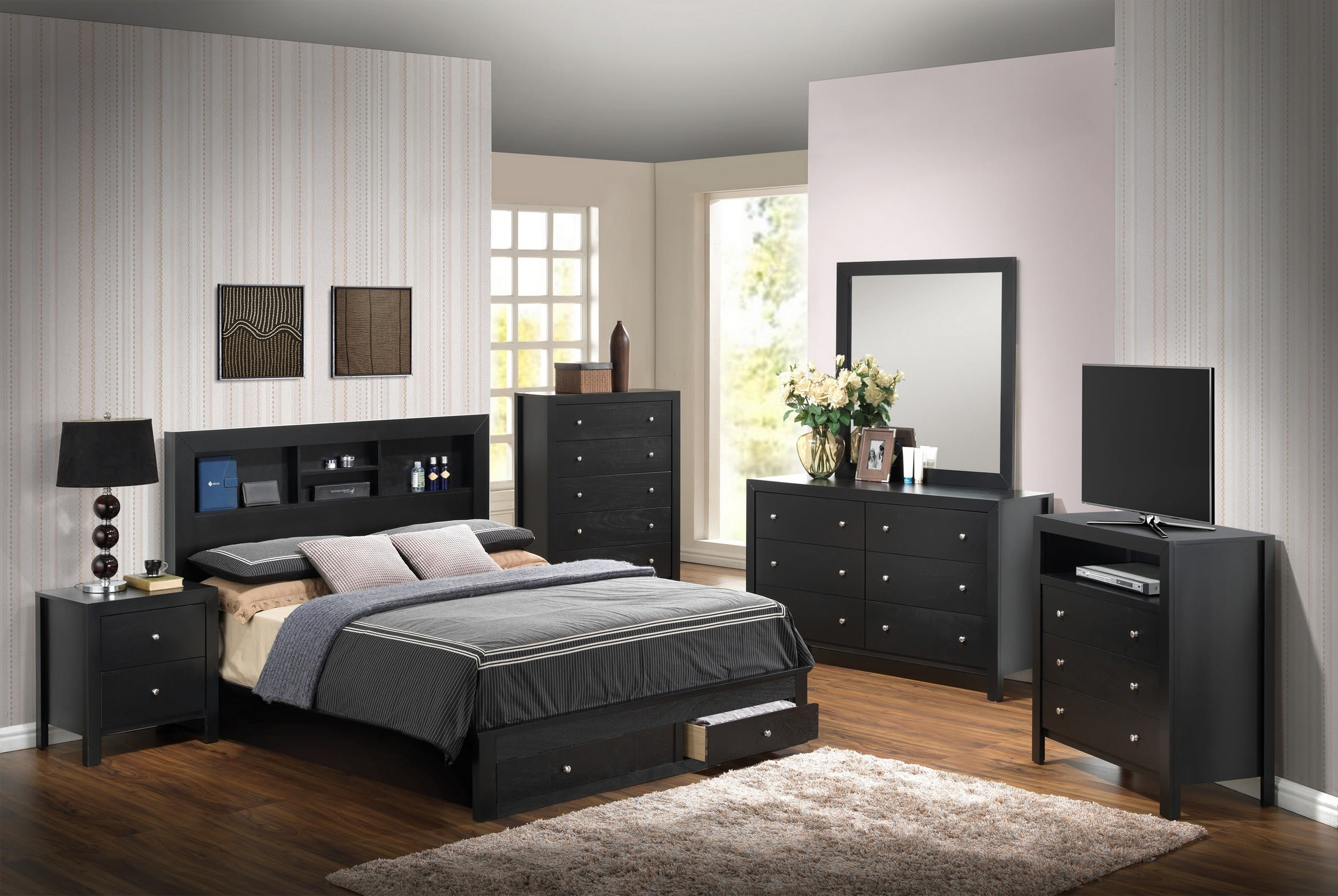 Glory Black Queen Storage 6 Piece Bedroom Set With Bookcase