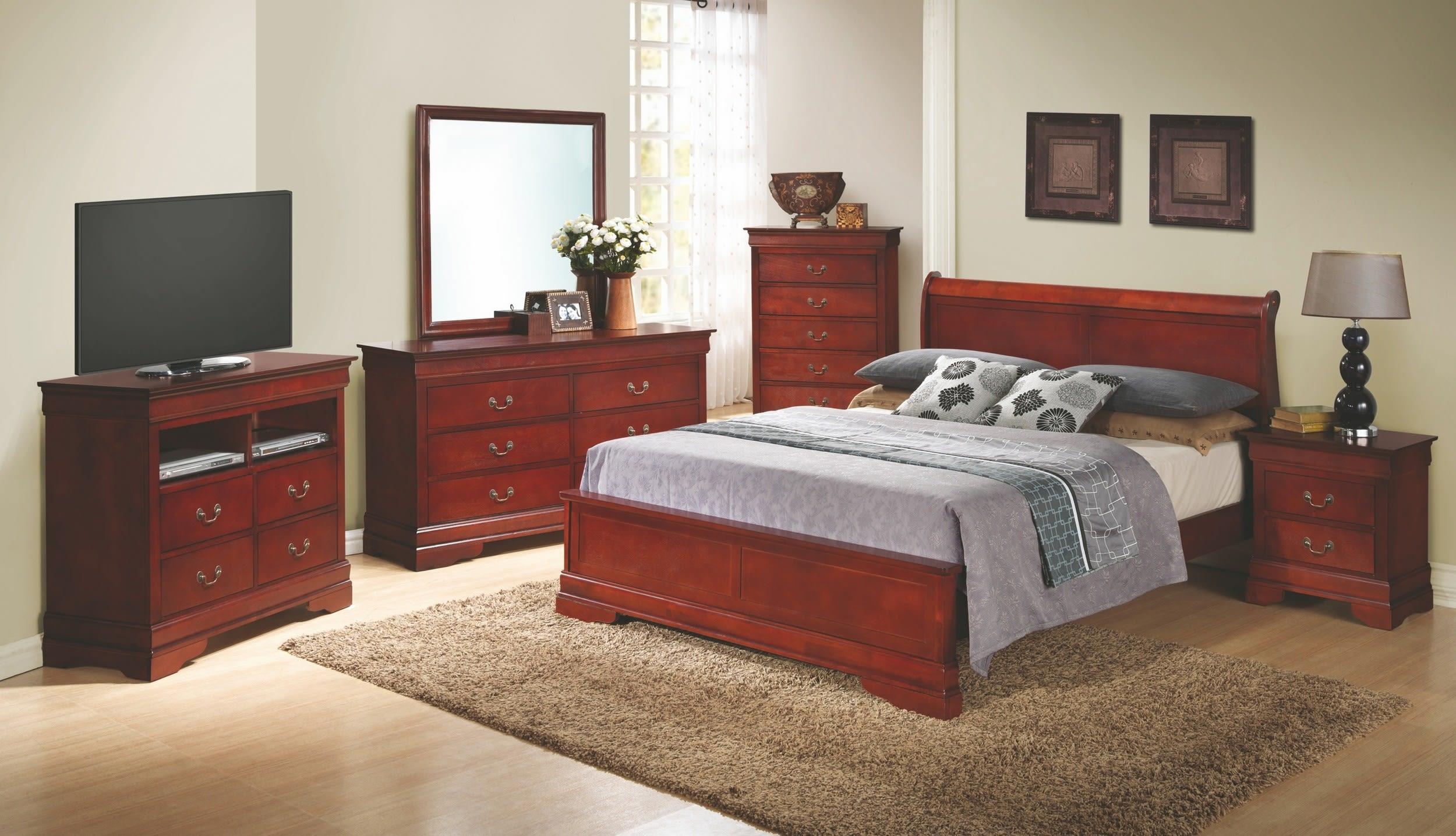 Glory Cherry Queen 6 Piece Bedroom Set With Sleigh Headboard