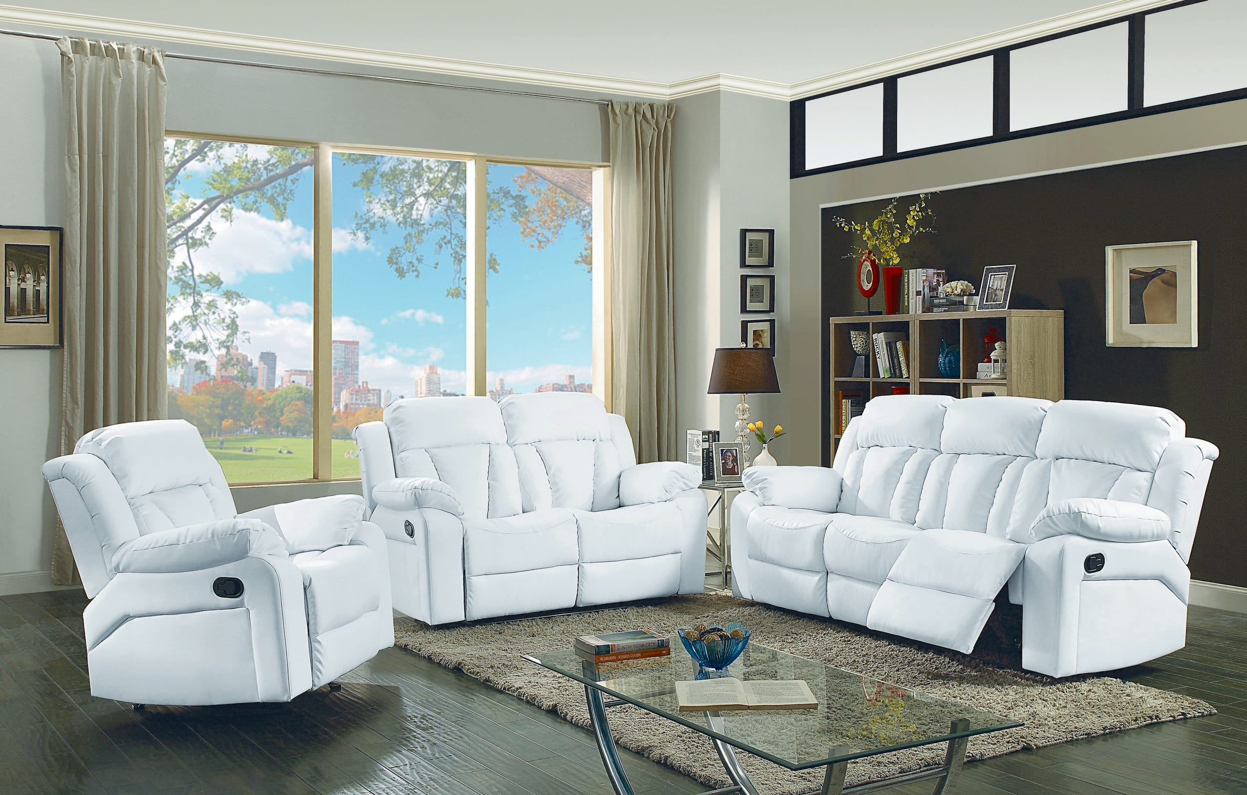 Glory Springfield White Faux Leather Reclining 3 Piece Living Room