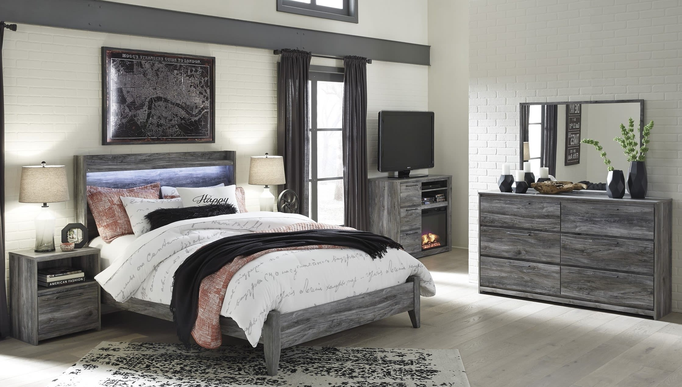 Signature Design By Ashley Baystorm Gray 6 Piece Queen Panel Bed