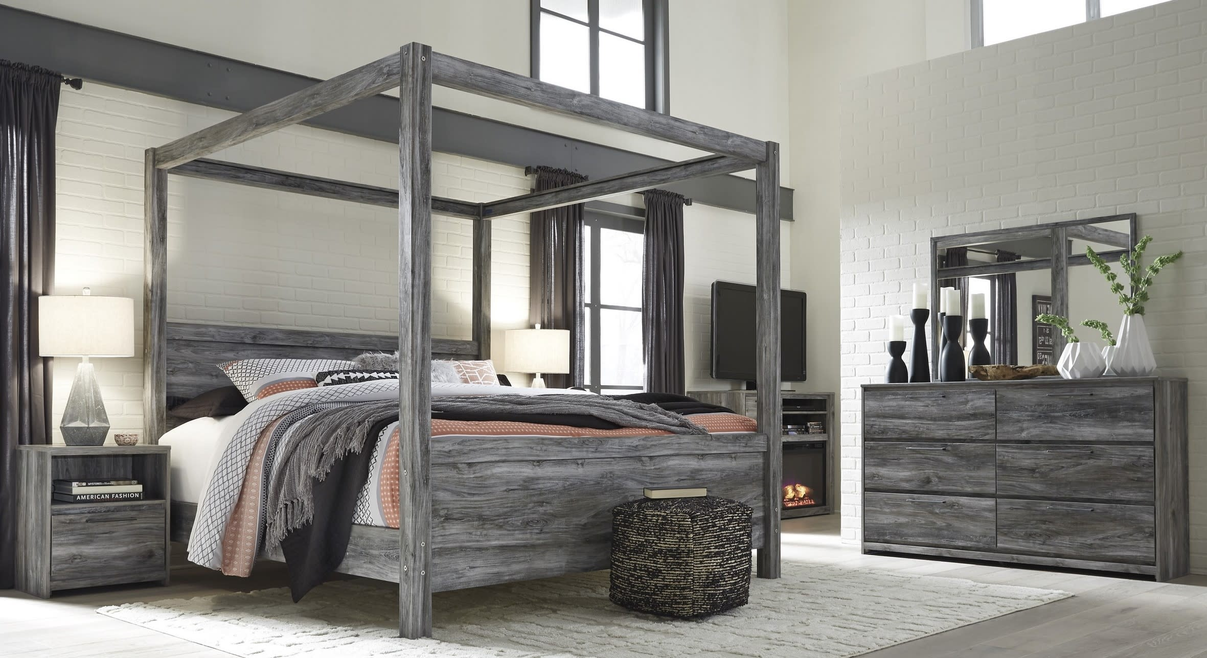Signature Design By Ashley Baystorm Gray 7 Piece Queen Canopy Bed