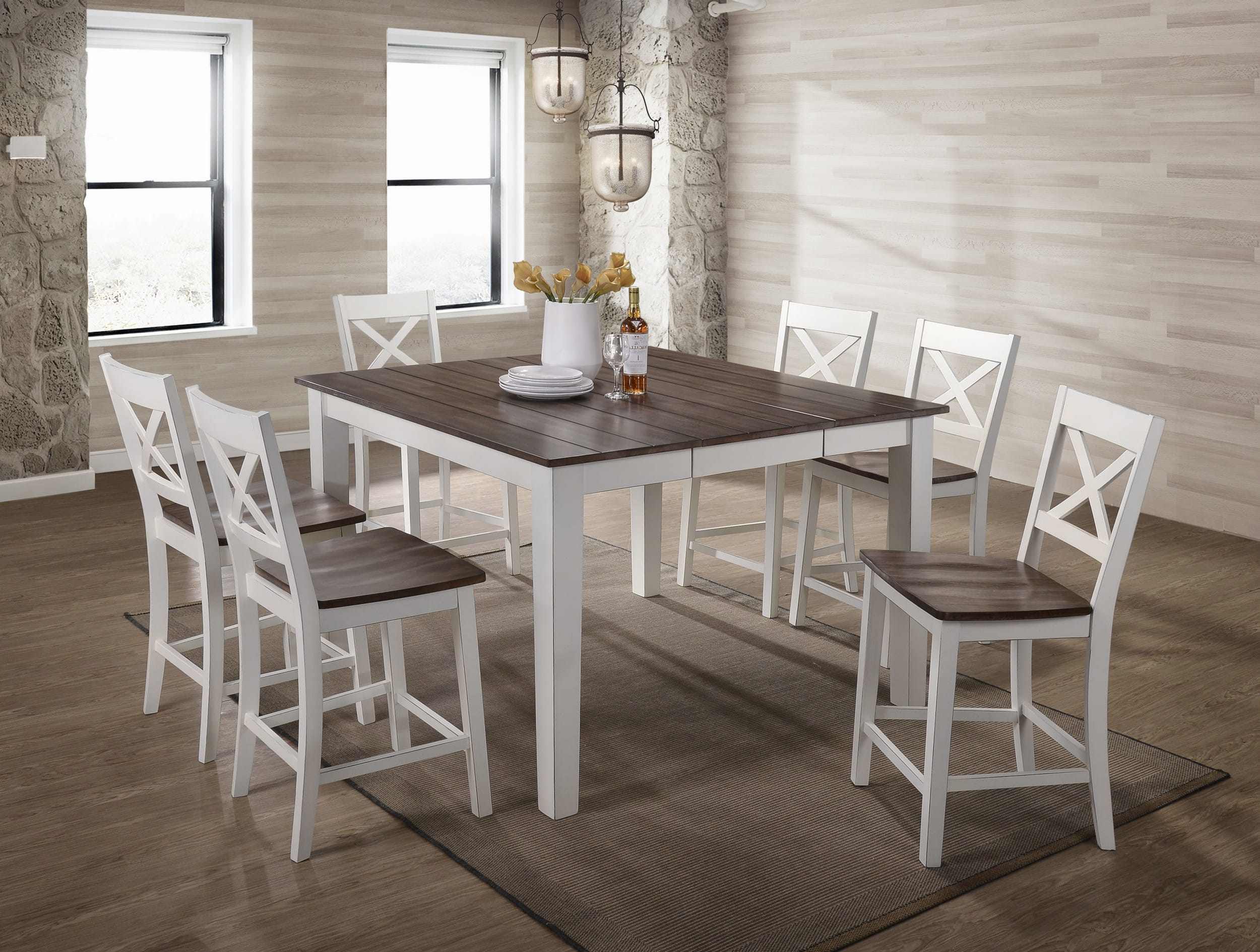 Simmons Upholstery A La Carte White Counter Height 7 Piece Dining