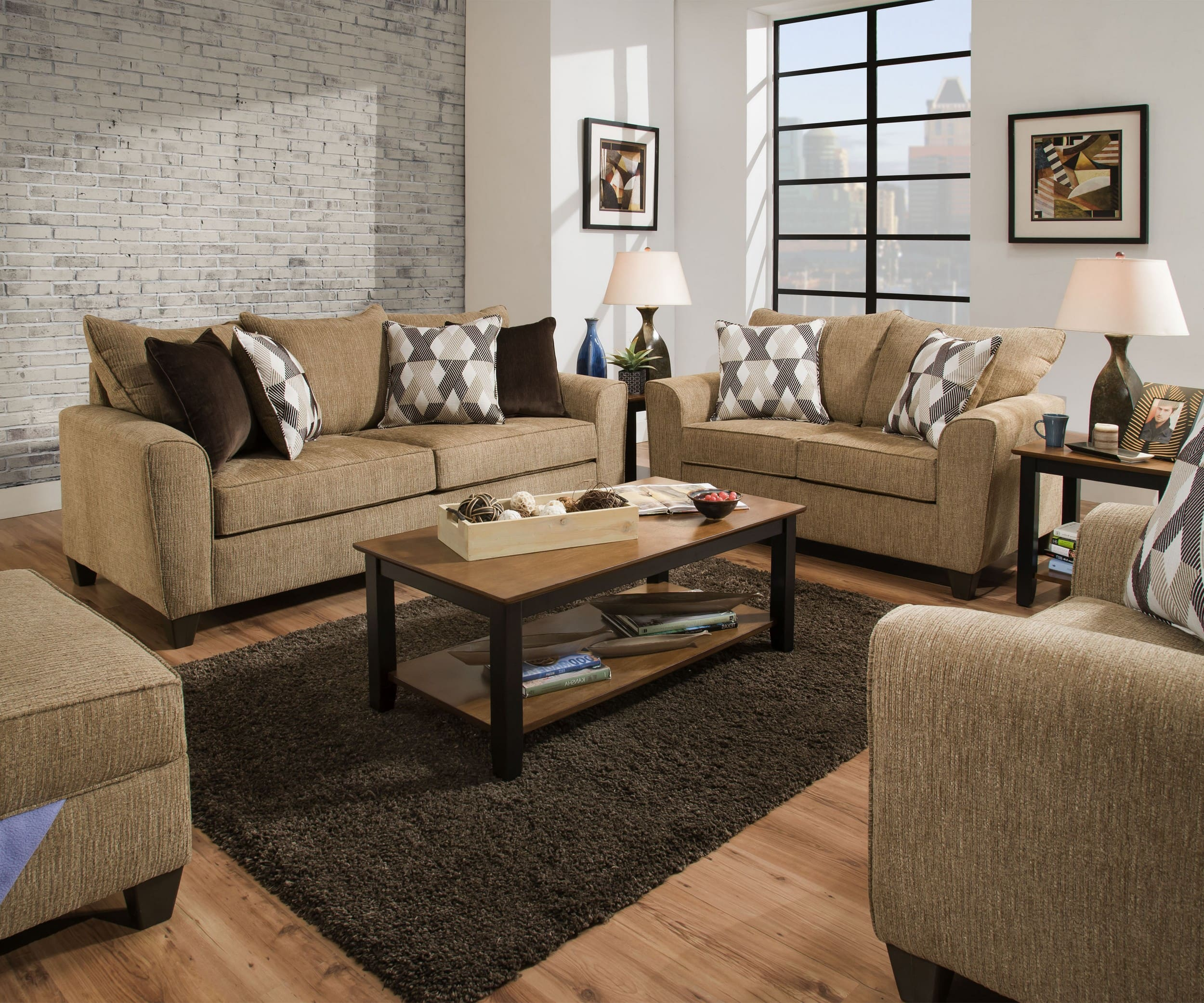 Simmons Upholstery Reed Tan 3 Piece Living Room Set With Queen
