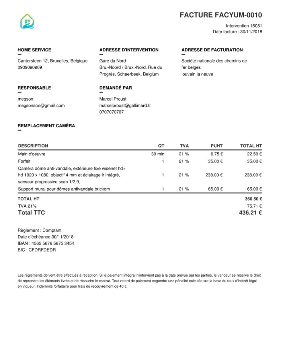 facture générée par yuman