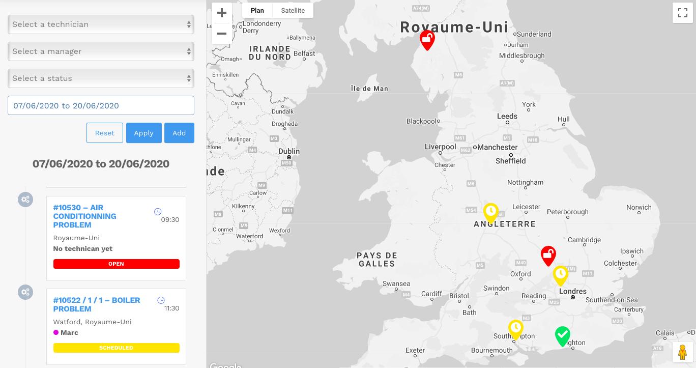 In kaart brengen van klantinterventies - planningssoftware