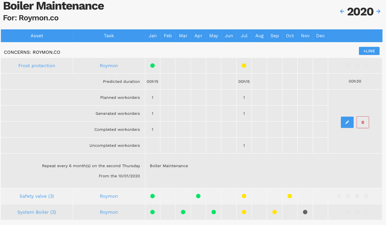 CMMS (Computerized Maintenance Management System) Yuman - Preventive maintenance plan - planning/calendar