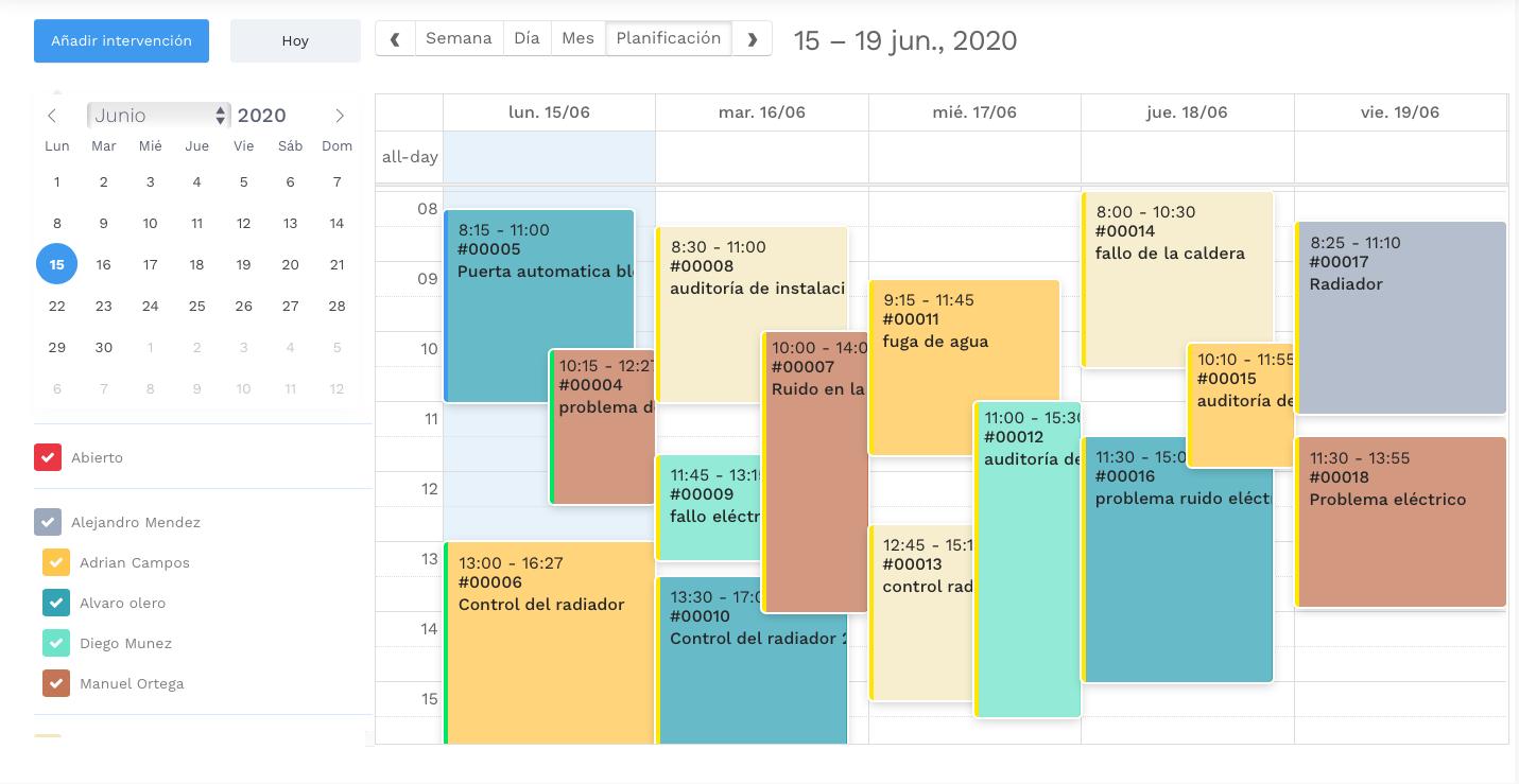 Planificación de la intervención - software de gestión de la intervención