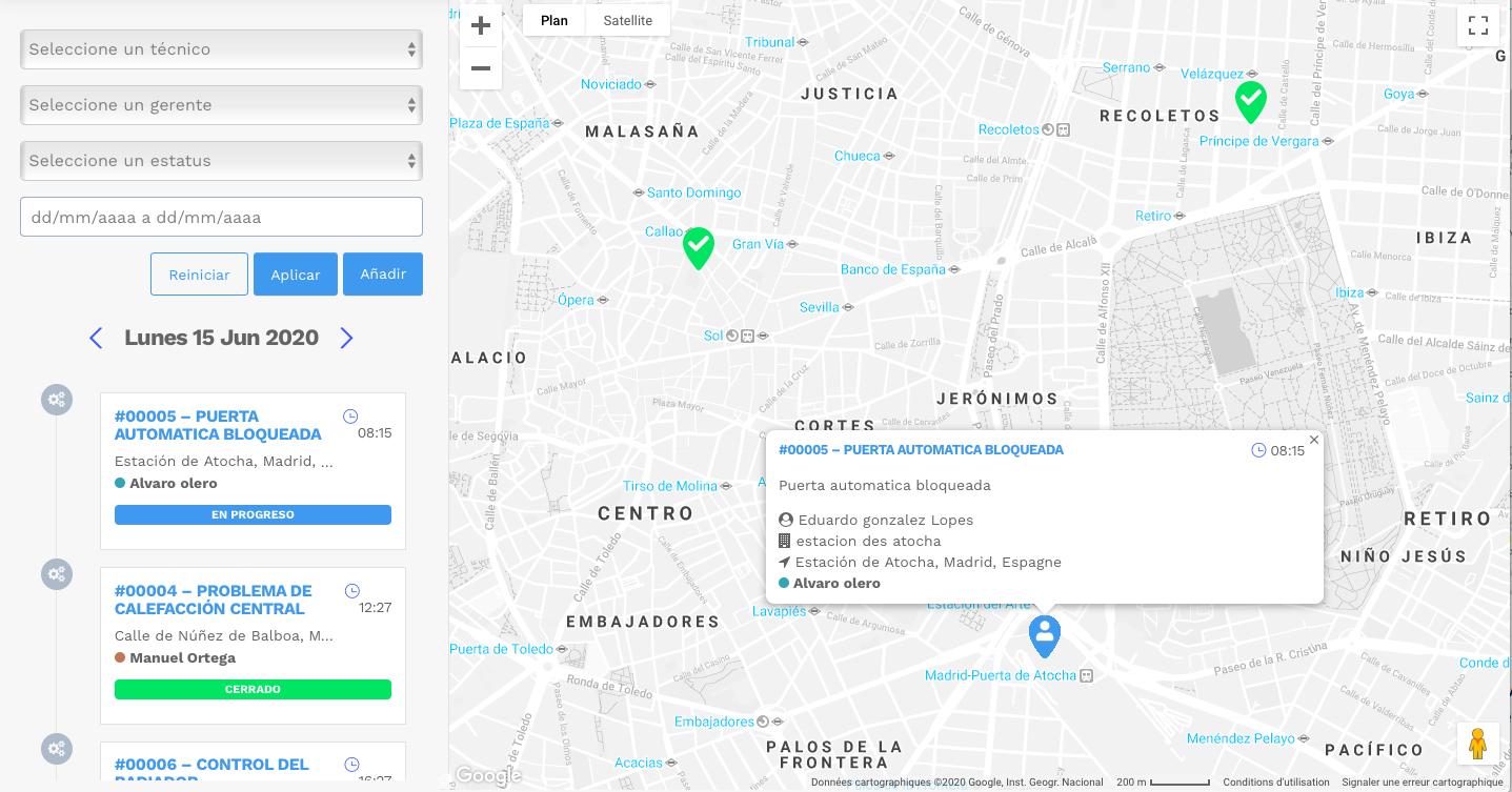 Mapeo de las intervenciones de los clientes - software de planificación