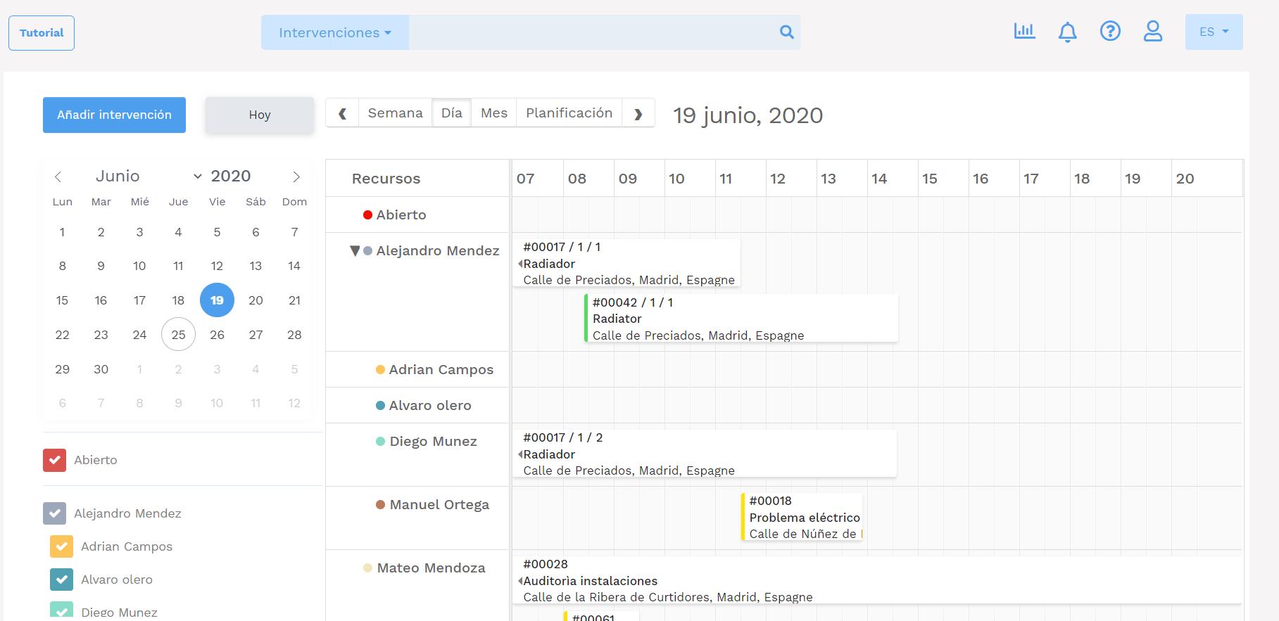 Software de gestión de mantenimiento - GMAO Yuman - Planificación del mantenimiento - planificación del día