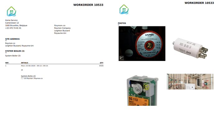 CMMS intervention report pdf photos client sending