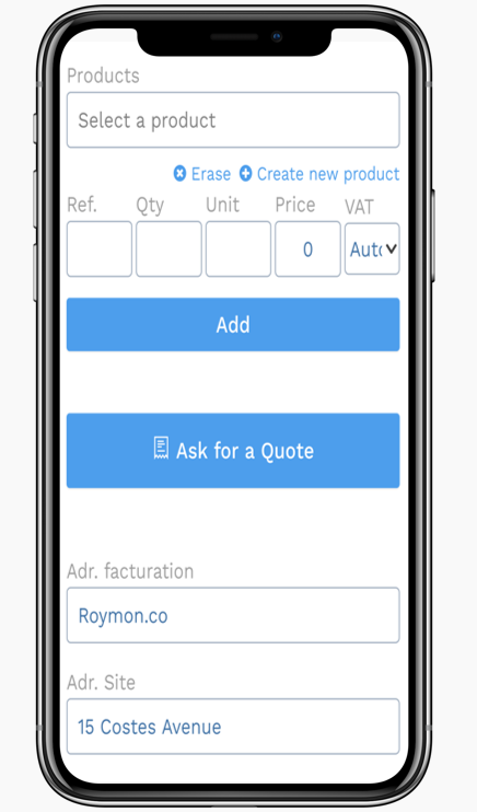 Maintenance management software - Yuman CMMS - mobile application customer estimate for interventions
