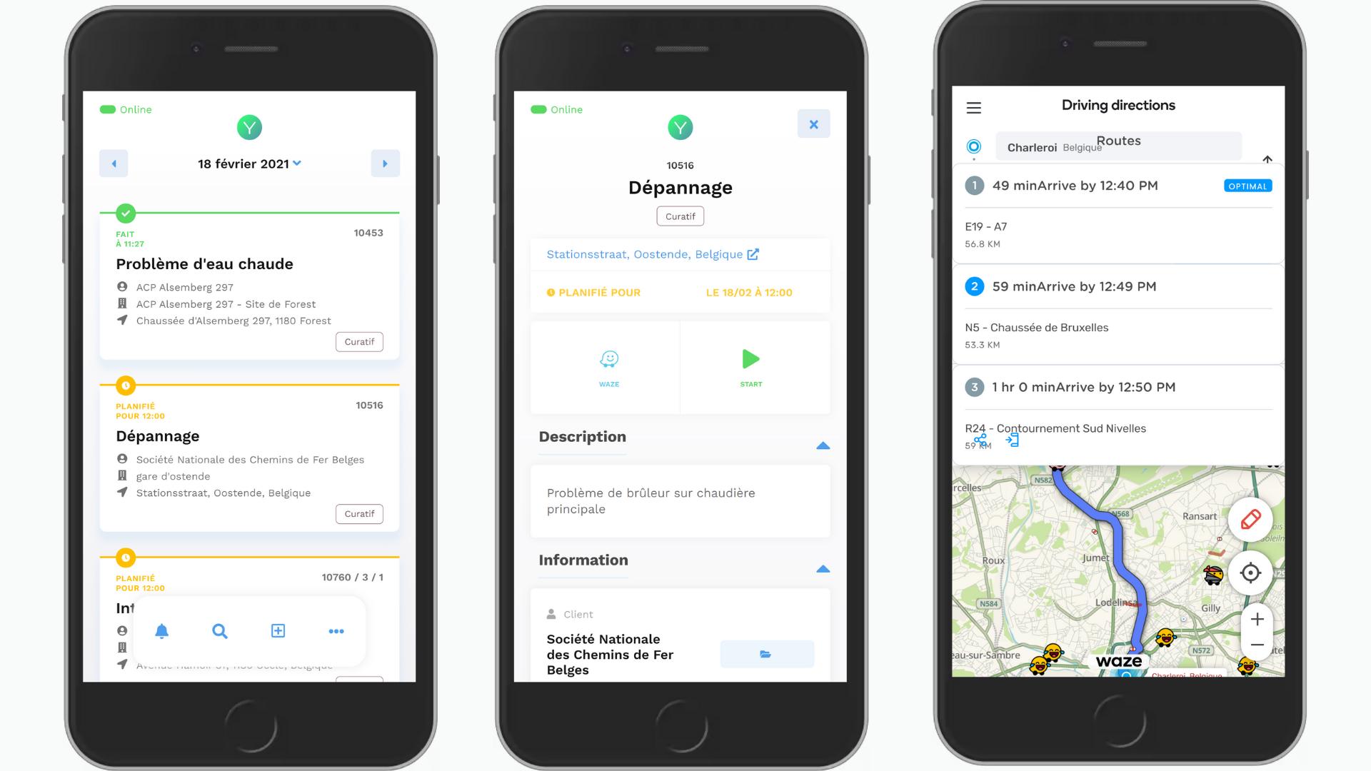 Yuman CMMS card - management software Technician interventions - Waze GPS vehicle geolocation