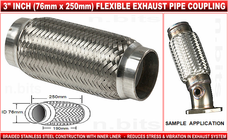 CLICK HERE TO SEE MORE EXHAUST PRODUCTS AVAILABLE FROM OUR EBAY STORE  sc 1 st  eBay & FLEX PIPE 3 INCH 76mm STAINLESS STEEL EXHAUST COUPLING | eBay