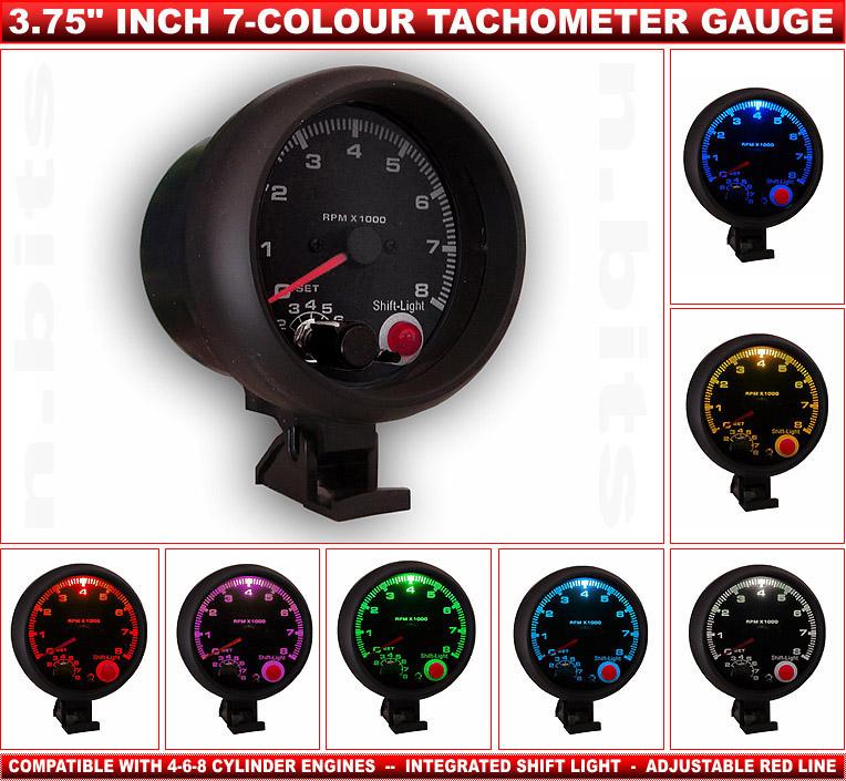 3 75 U0026quot  Inch Tacho Tachometer Gauge 7 Colour Illumination  U0026 Shift Light