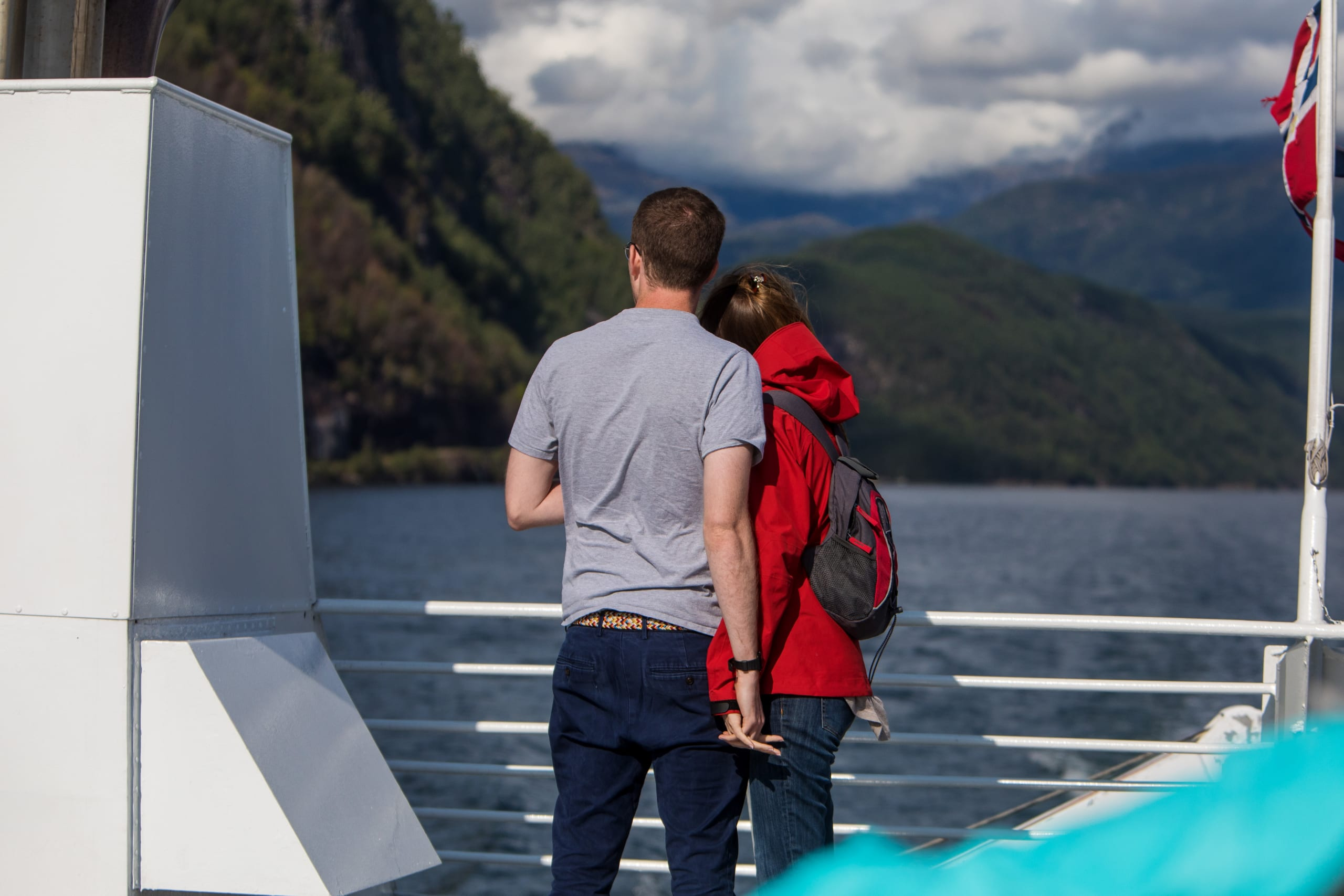 Couple on fjord boat