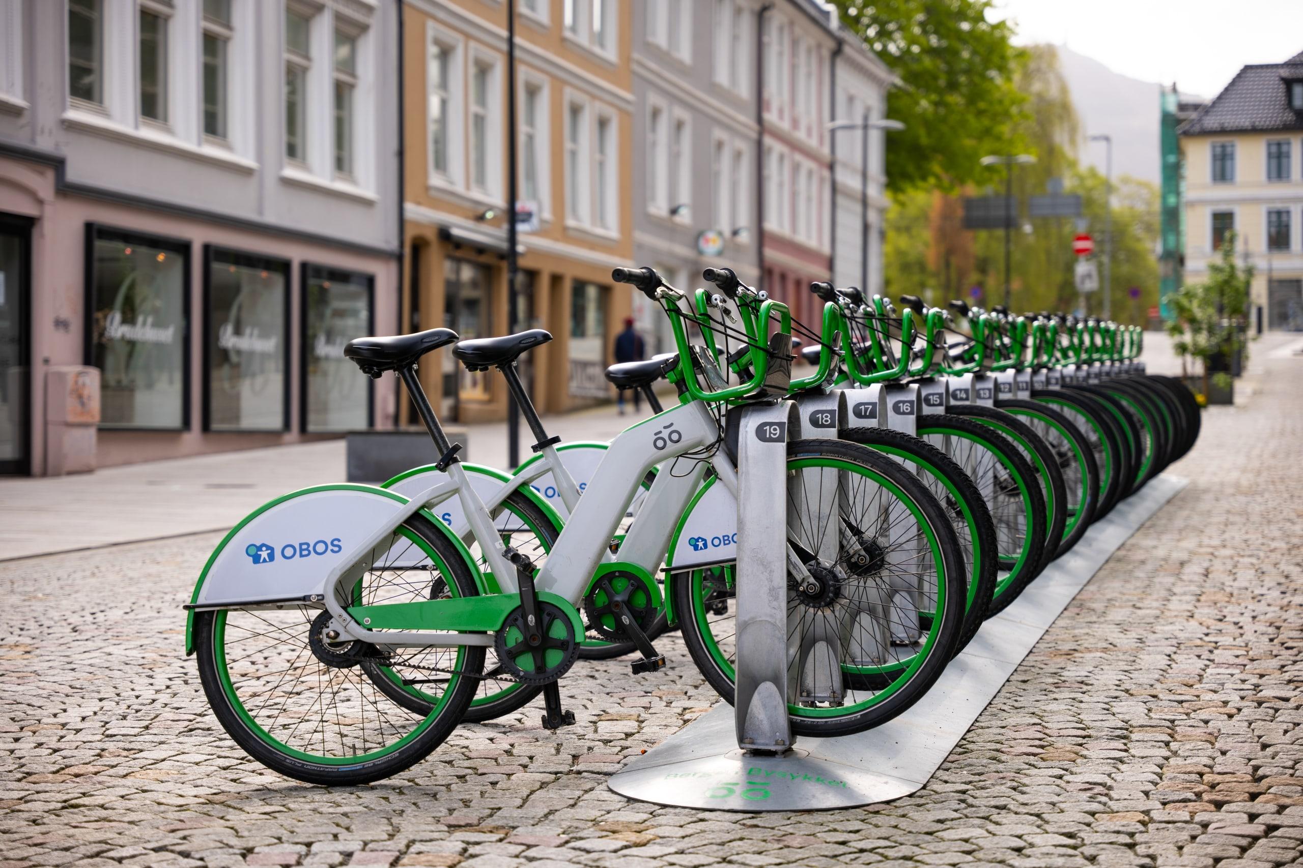 City bikes parked in a street in Bergen