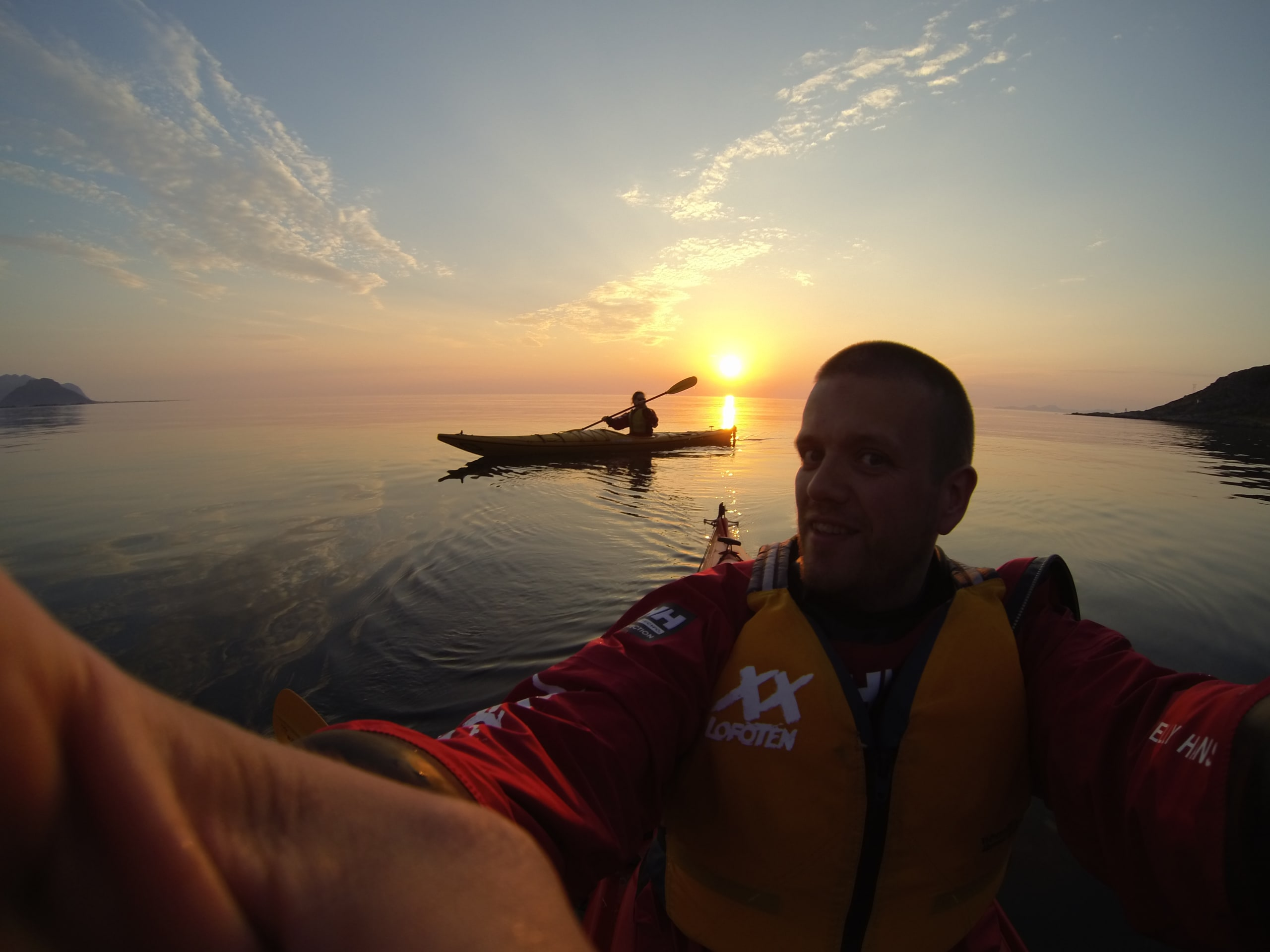 Midnight sun kayaking in Lofoten