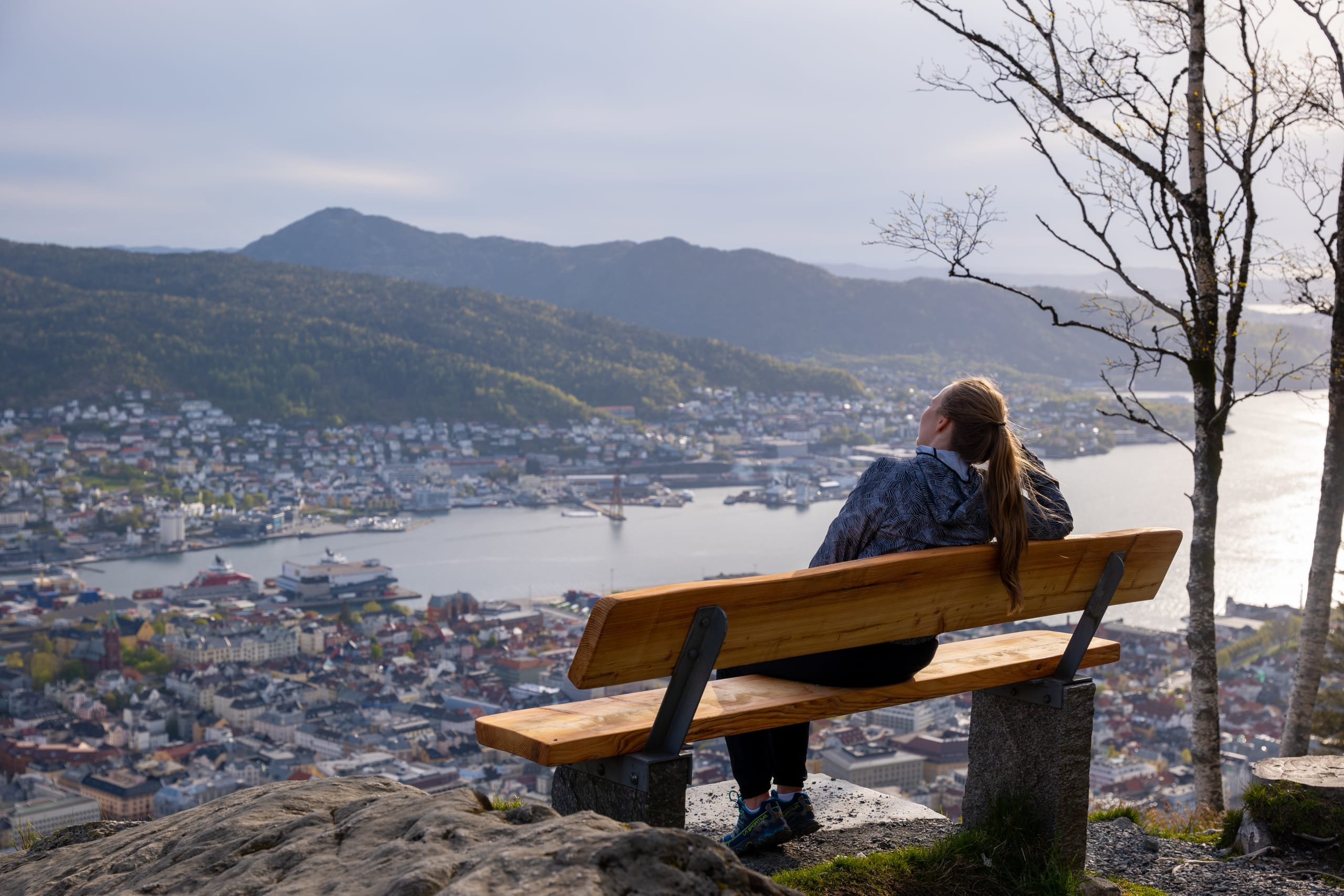 Bench at Mount Fløyen overlooking Bergen city