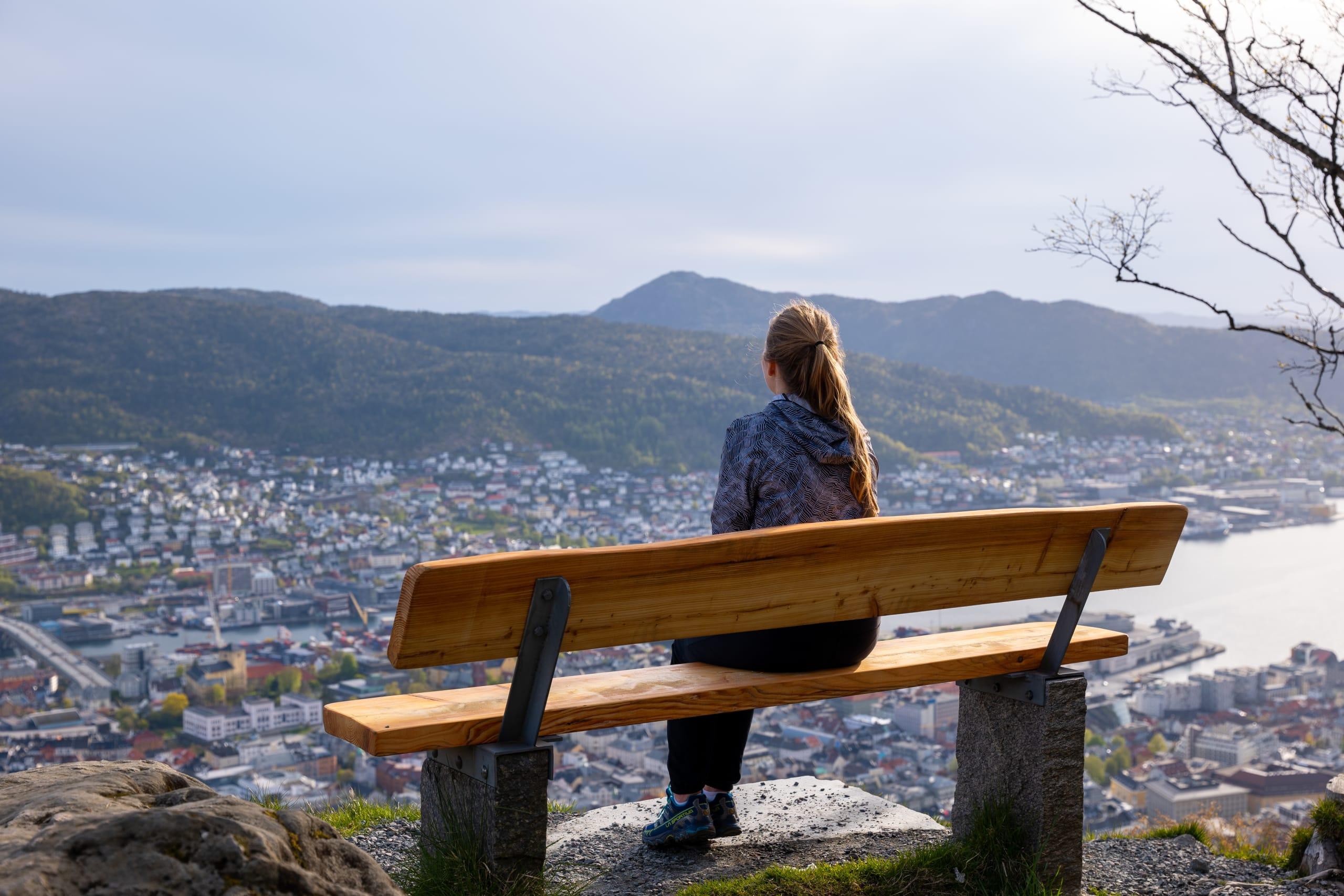 Bench at Mount Fløyen overlooking Bergen city