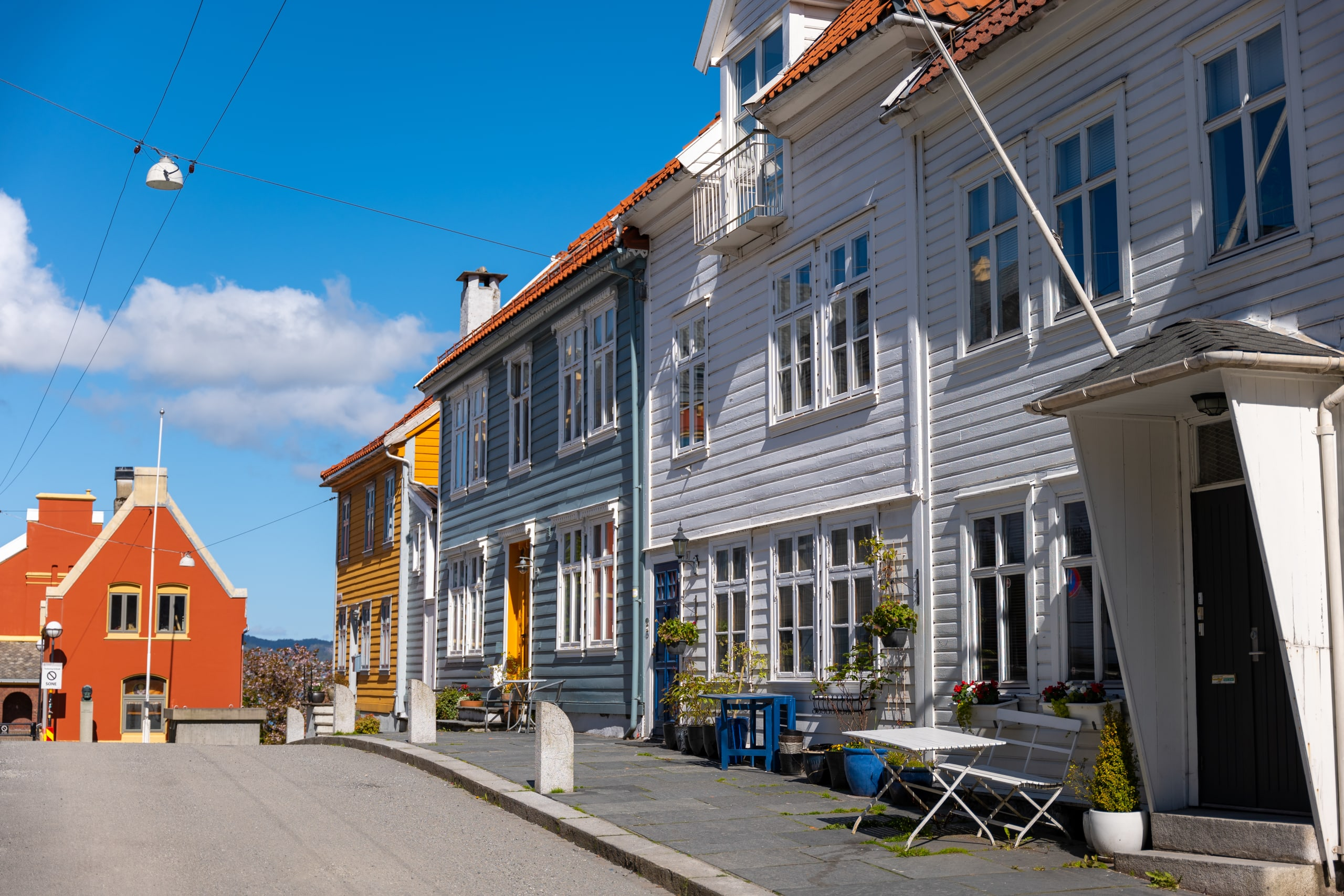Wooden houses at Sydnes in Bergen