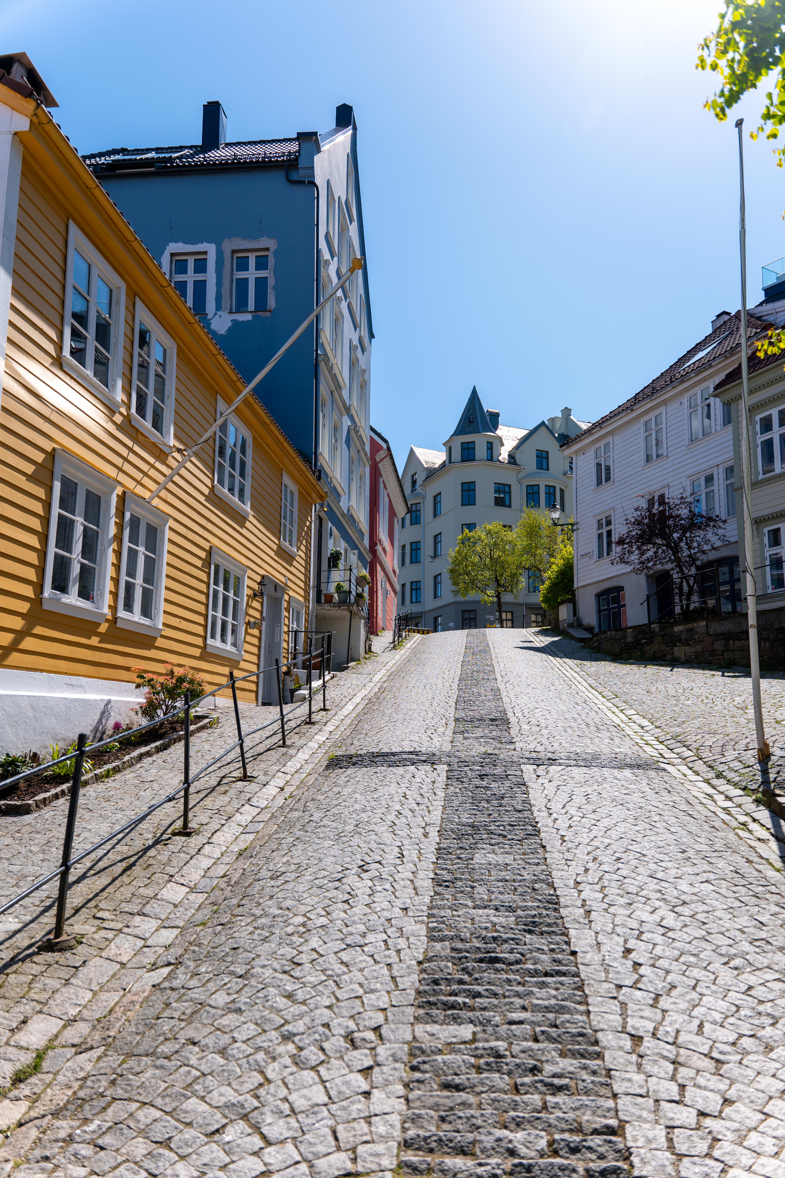 Cobbled street at Sydnes in Bergen