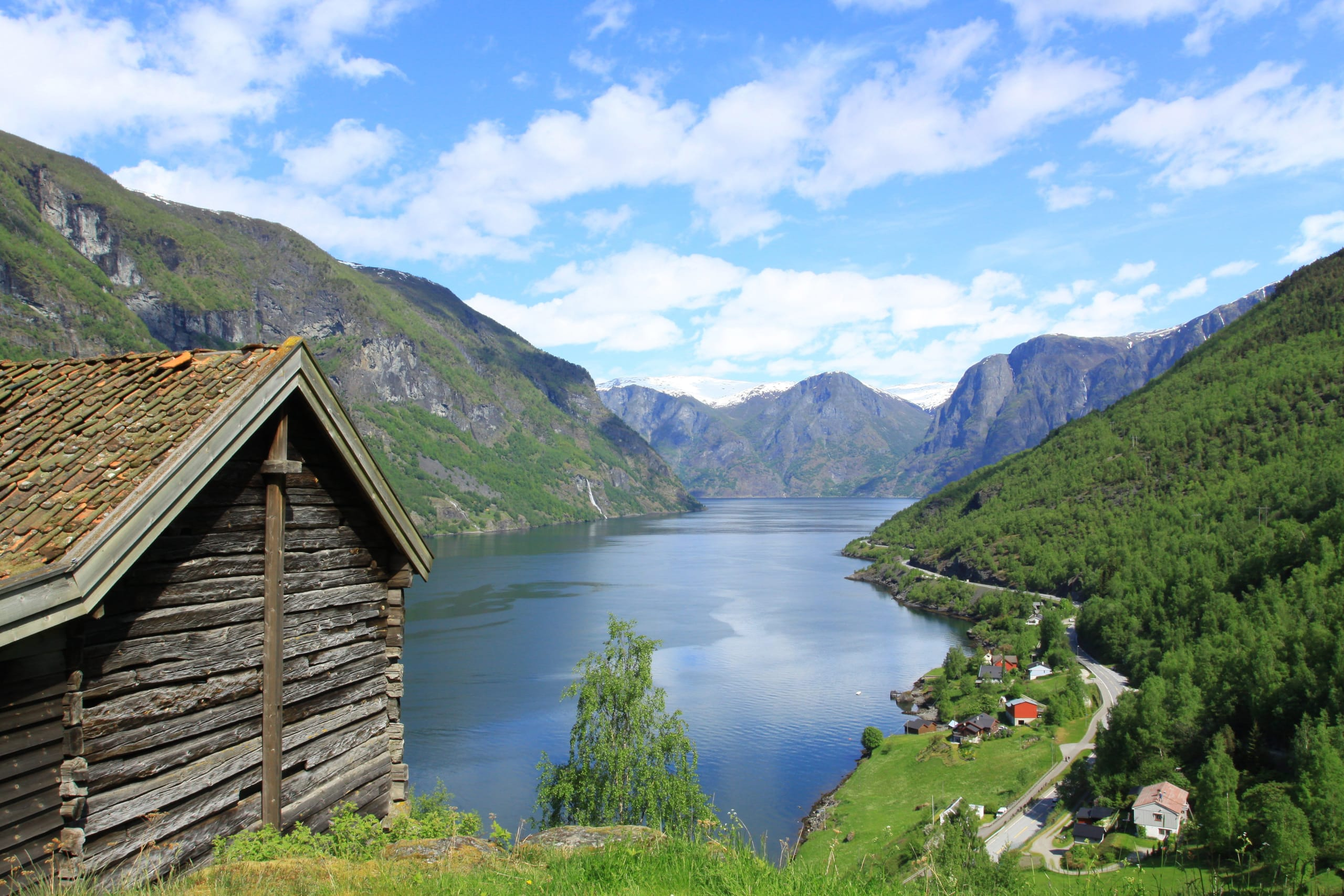 Aurlandsfjord view with old hut