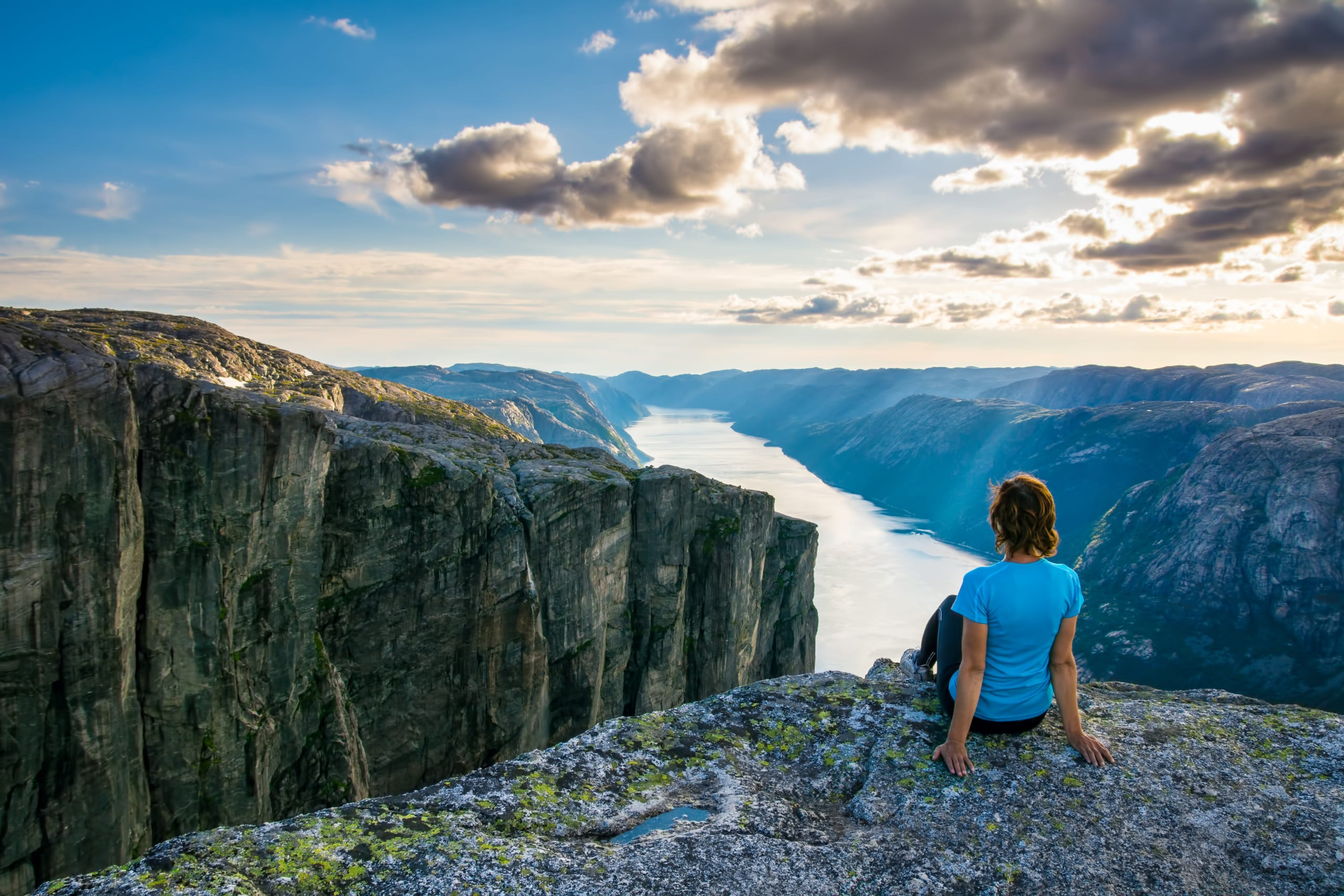Hiker on the cliffs of Kjerag