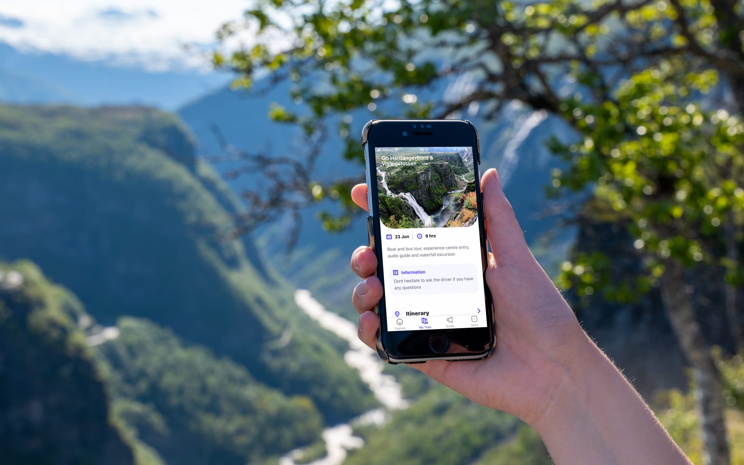 Go Fjords app with map and audioguide
