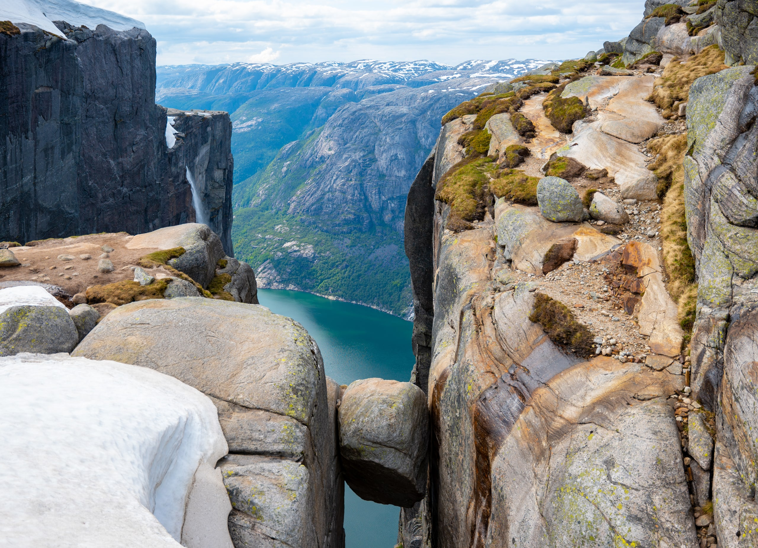 The Kjerag Boulder high above the Lysefjord