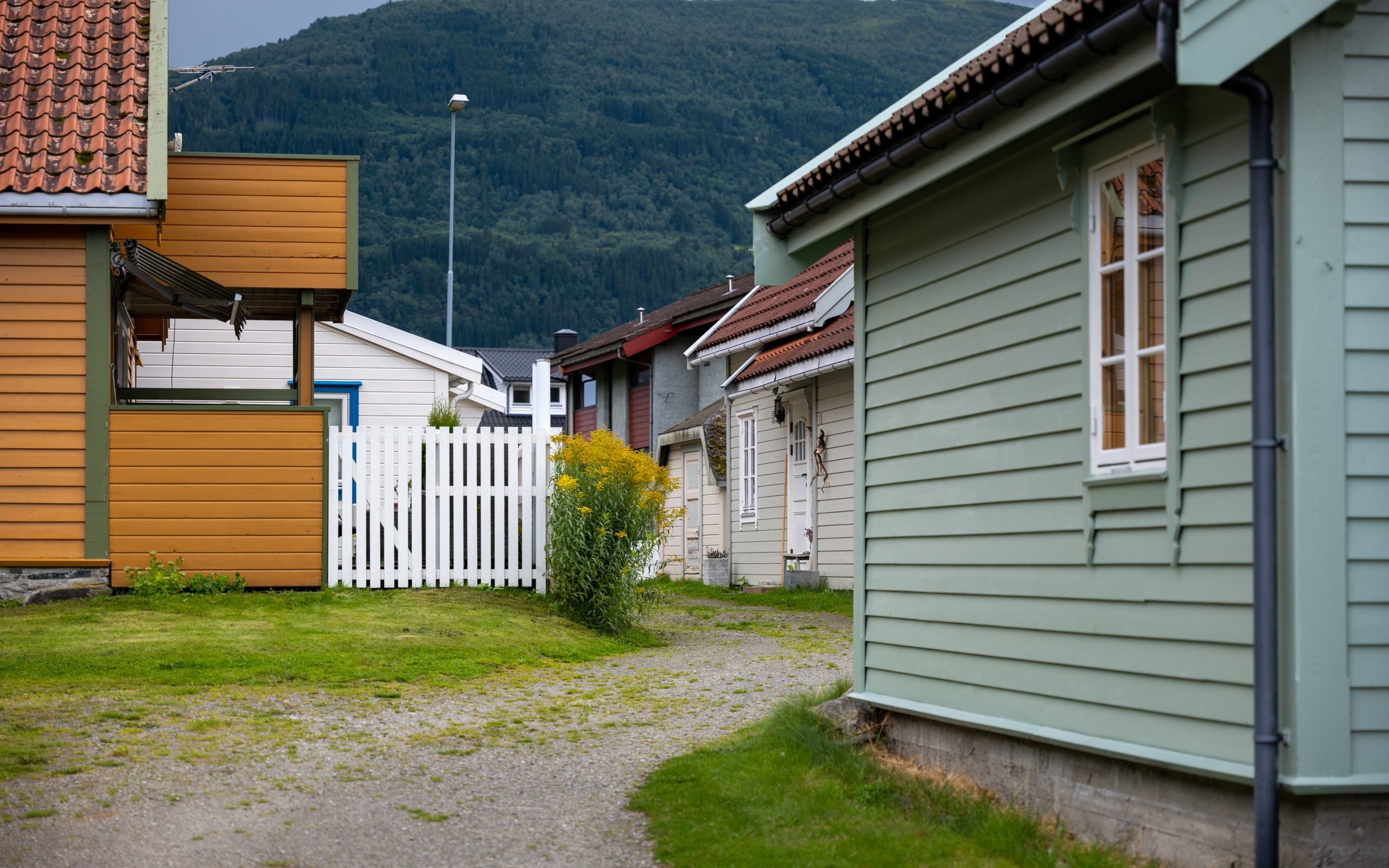Narre alley between wooden houses in Vik