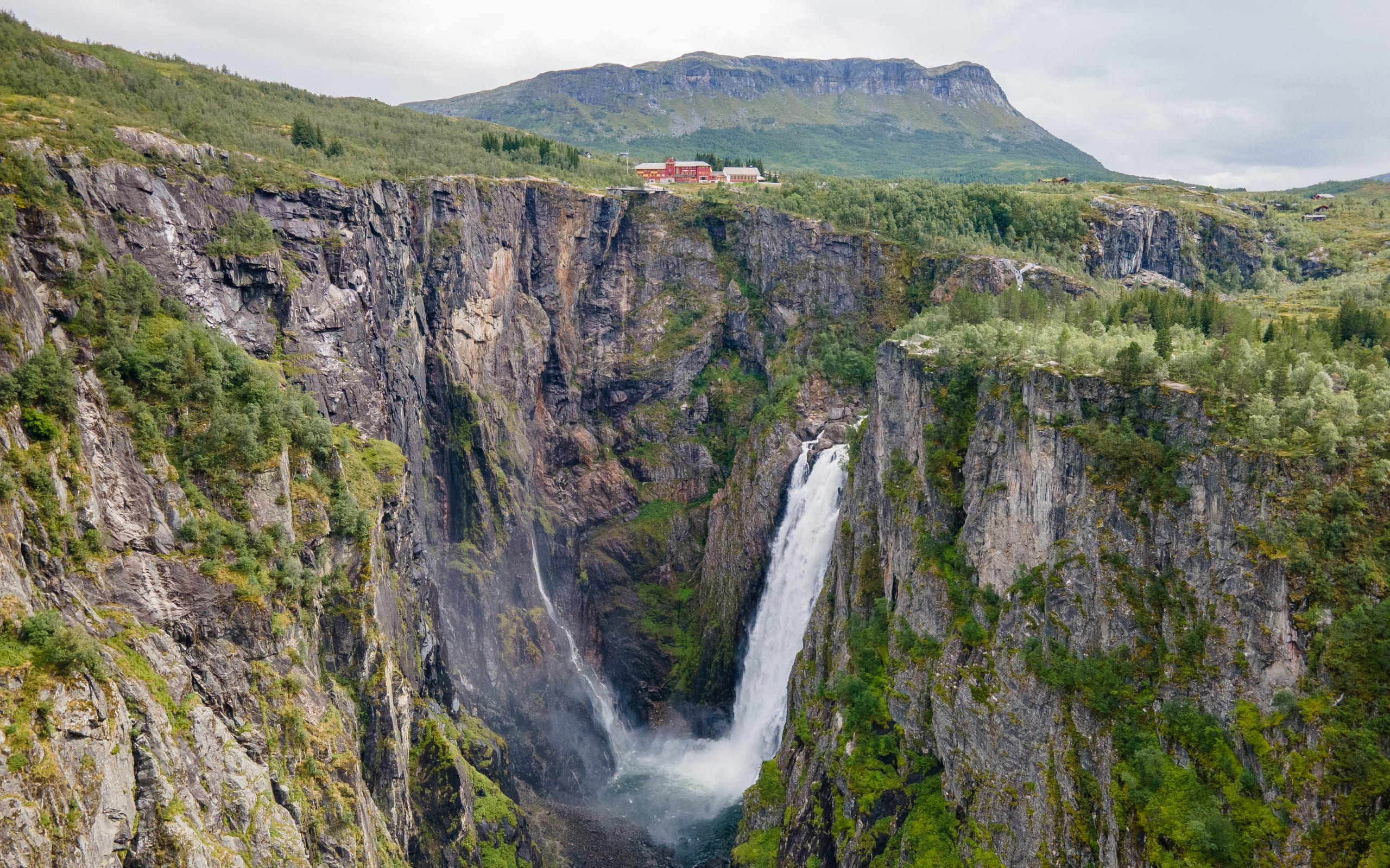 Panorama view of Vøringsfossen waterfall