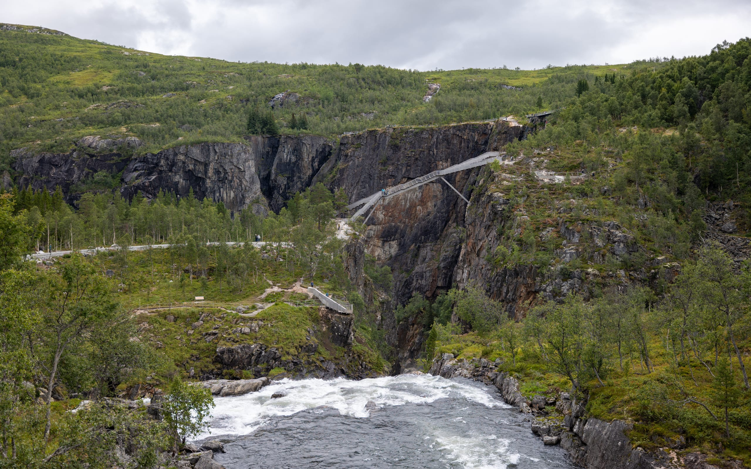 Walking Bridge at Vøringsfossen waterfall